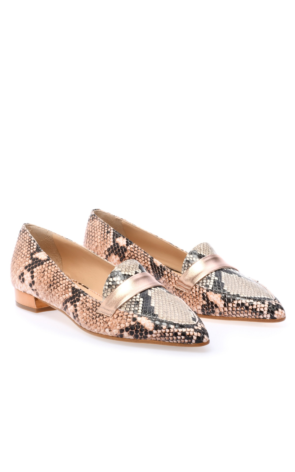 Snake print leather loafers for woman Baldinini