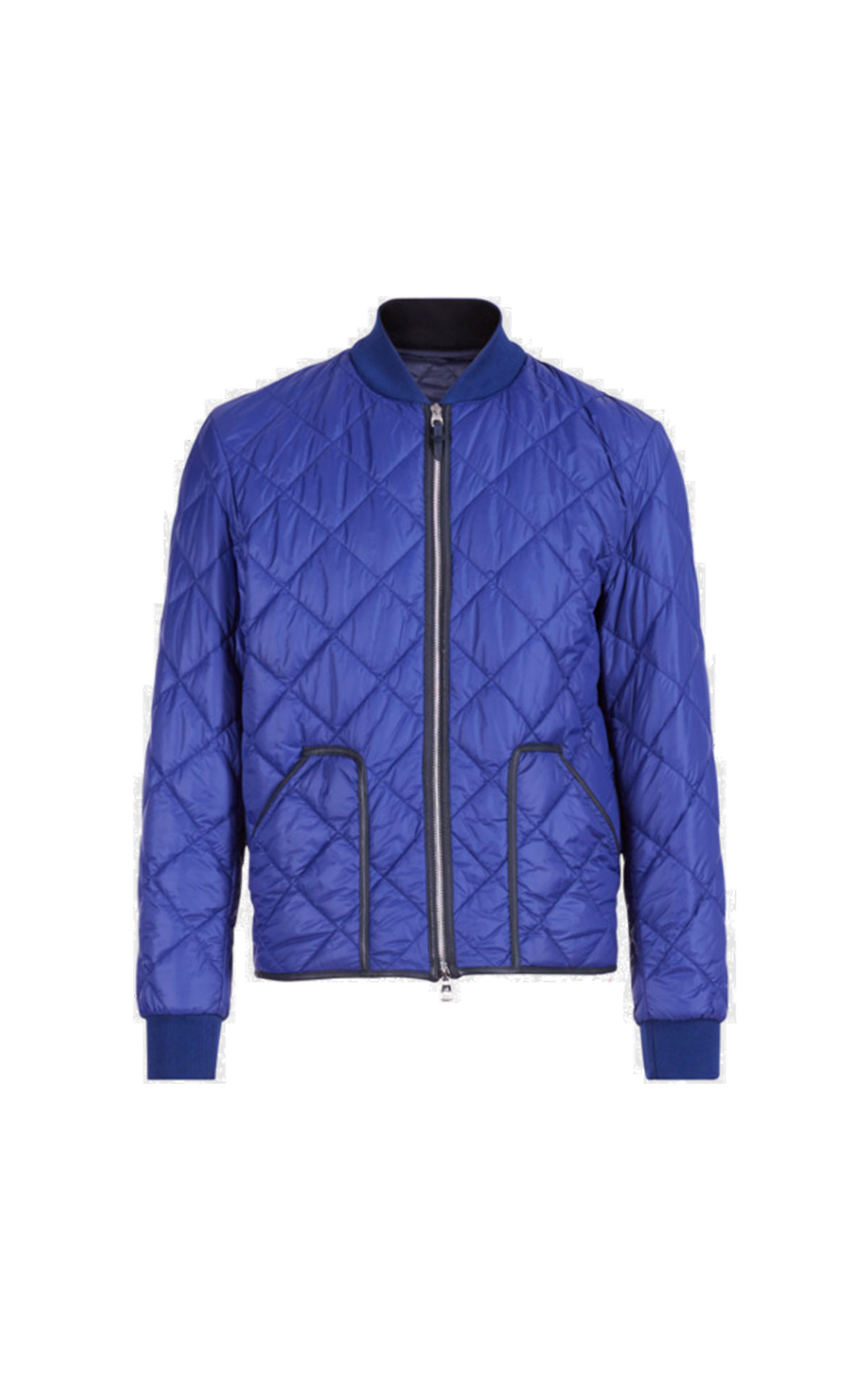 dunhill Quilted bomber in royal blue from Bicester Village