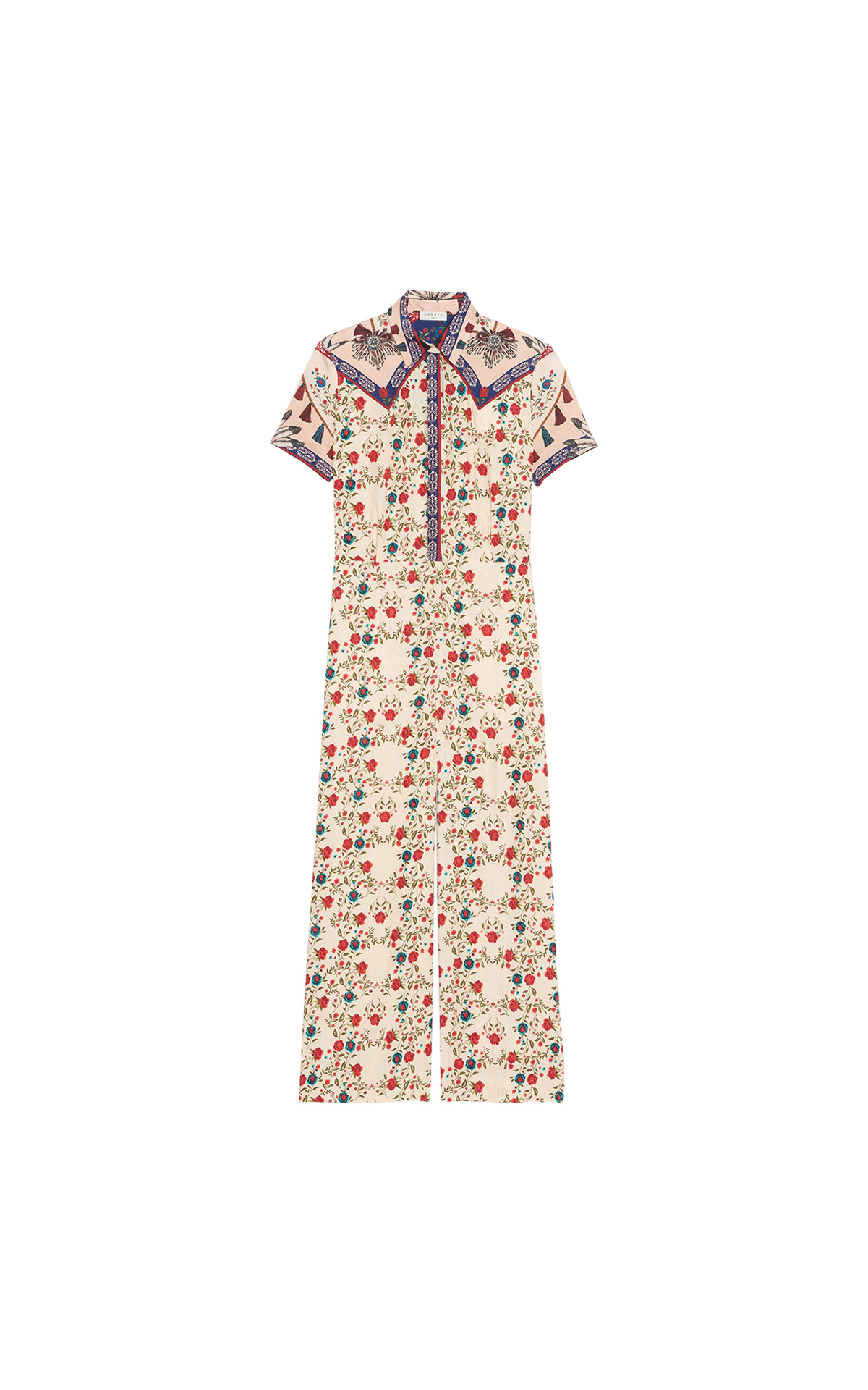 Sandro Jumpsuit with short sleeves in positioned Mexican Folk scarf print at The Bicester Village Shopping Collection
