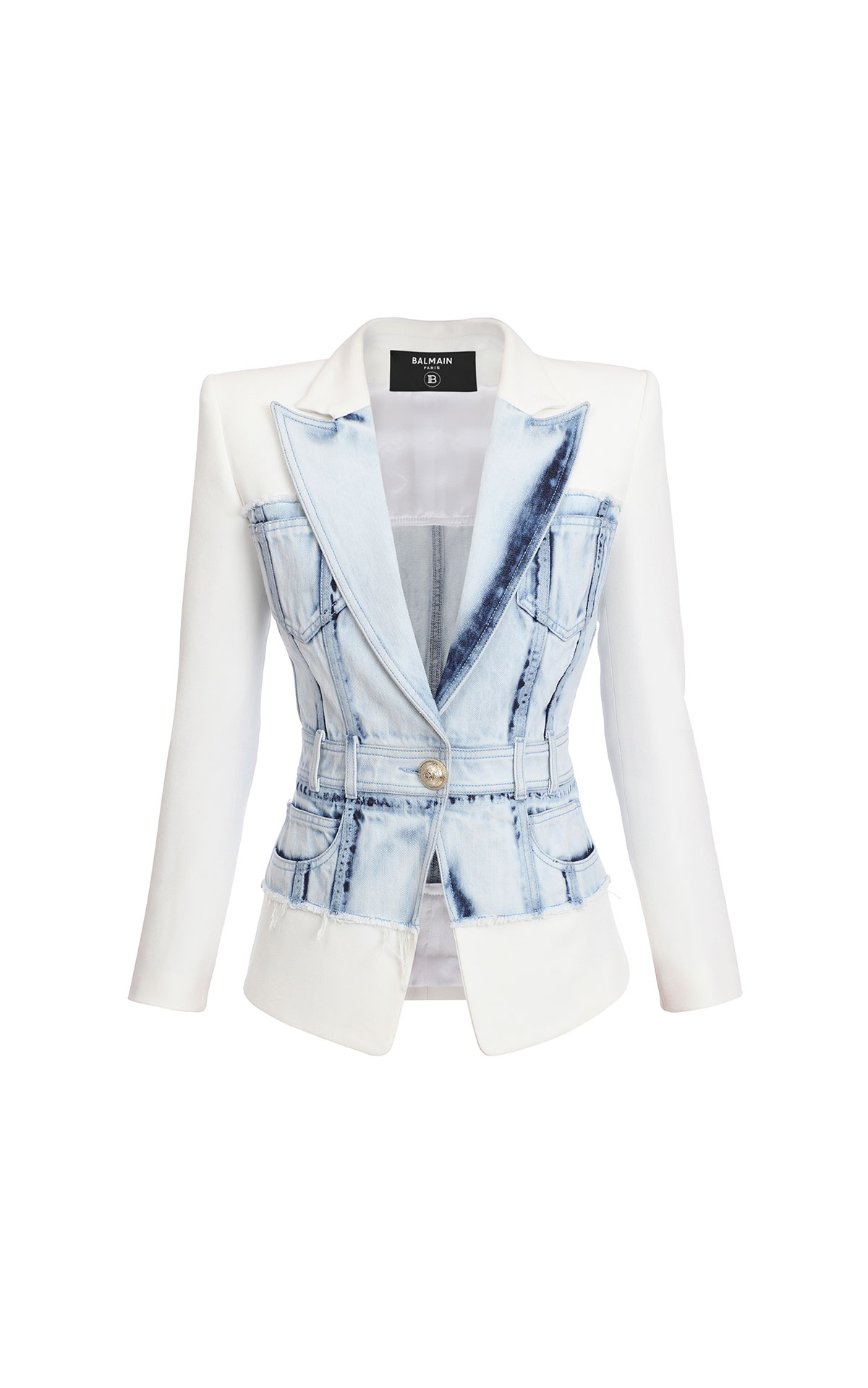 Balmain Denim panel blazer from Bicester Village