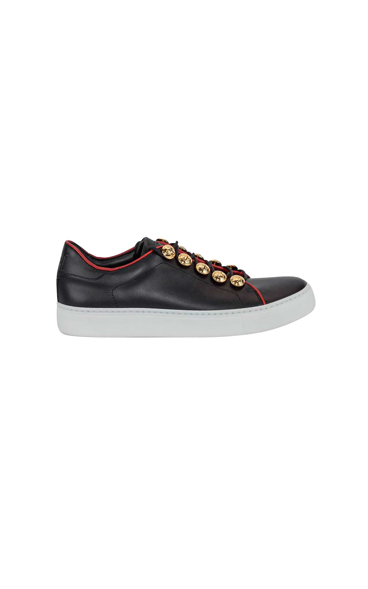 Black leather sneakers with gold buttons Escada