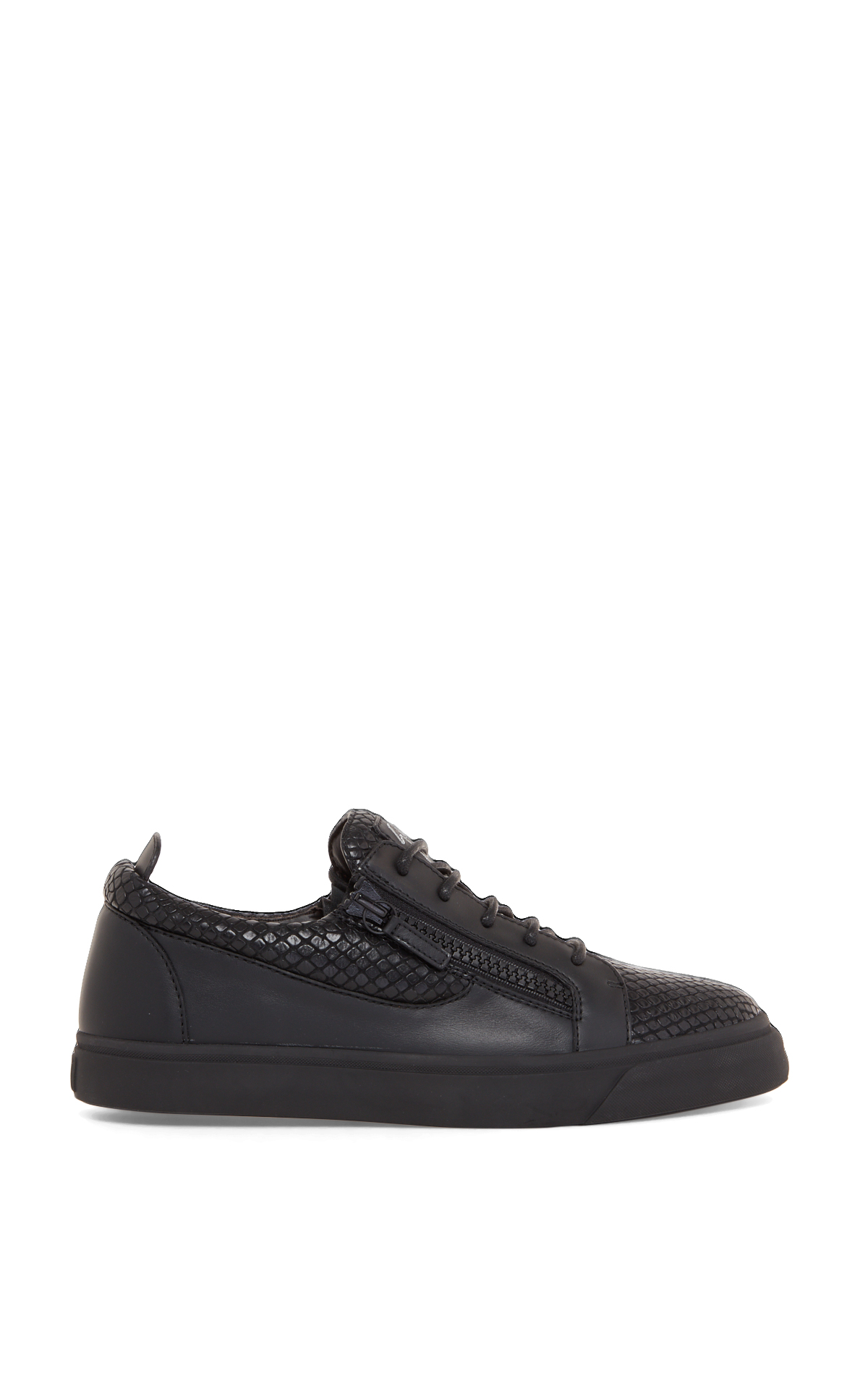 Zanotti Black sneakers with crocodile print detailing la vallée village