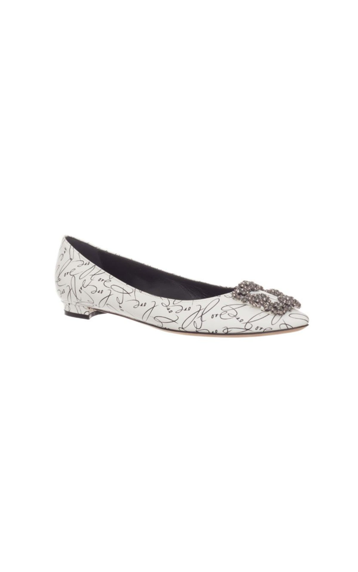 Manolo Blahnik Hangisi flat love white from Bicester Village