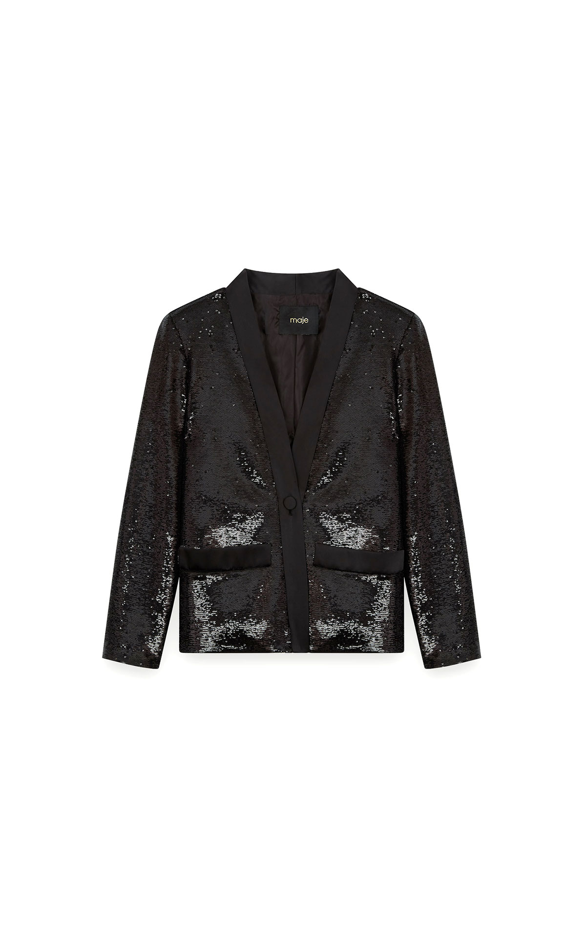 Maje Sequin satin jacket in black at The Bicester Village Shopping Collection