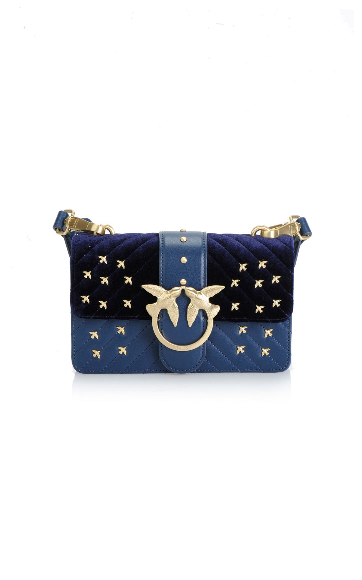 Blue clutch with golden birds Pinko