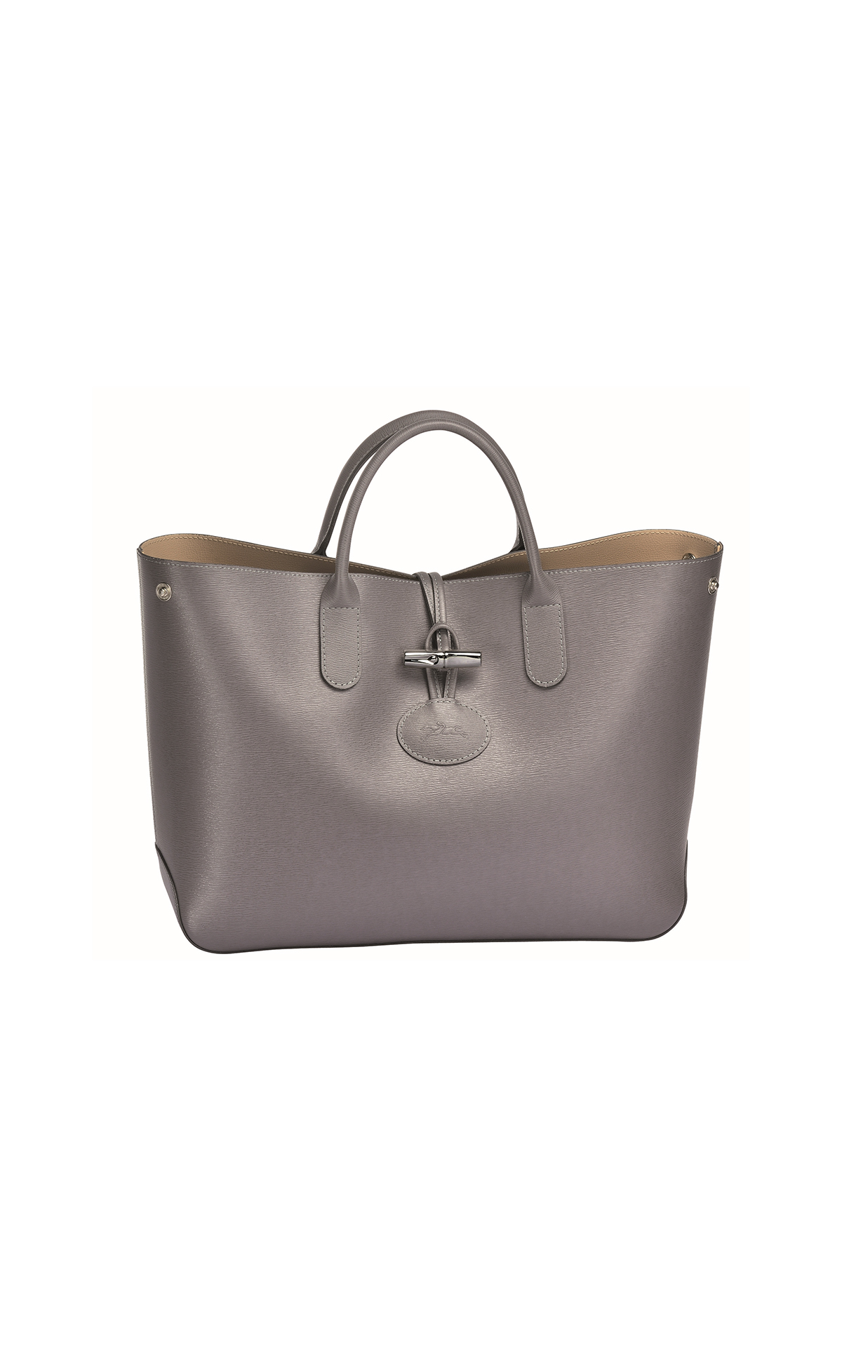 Longchamp Roseau grey short handle tote from Bicester Village