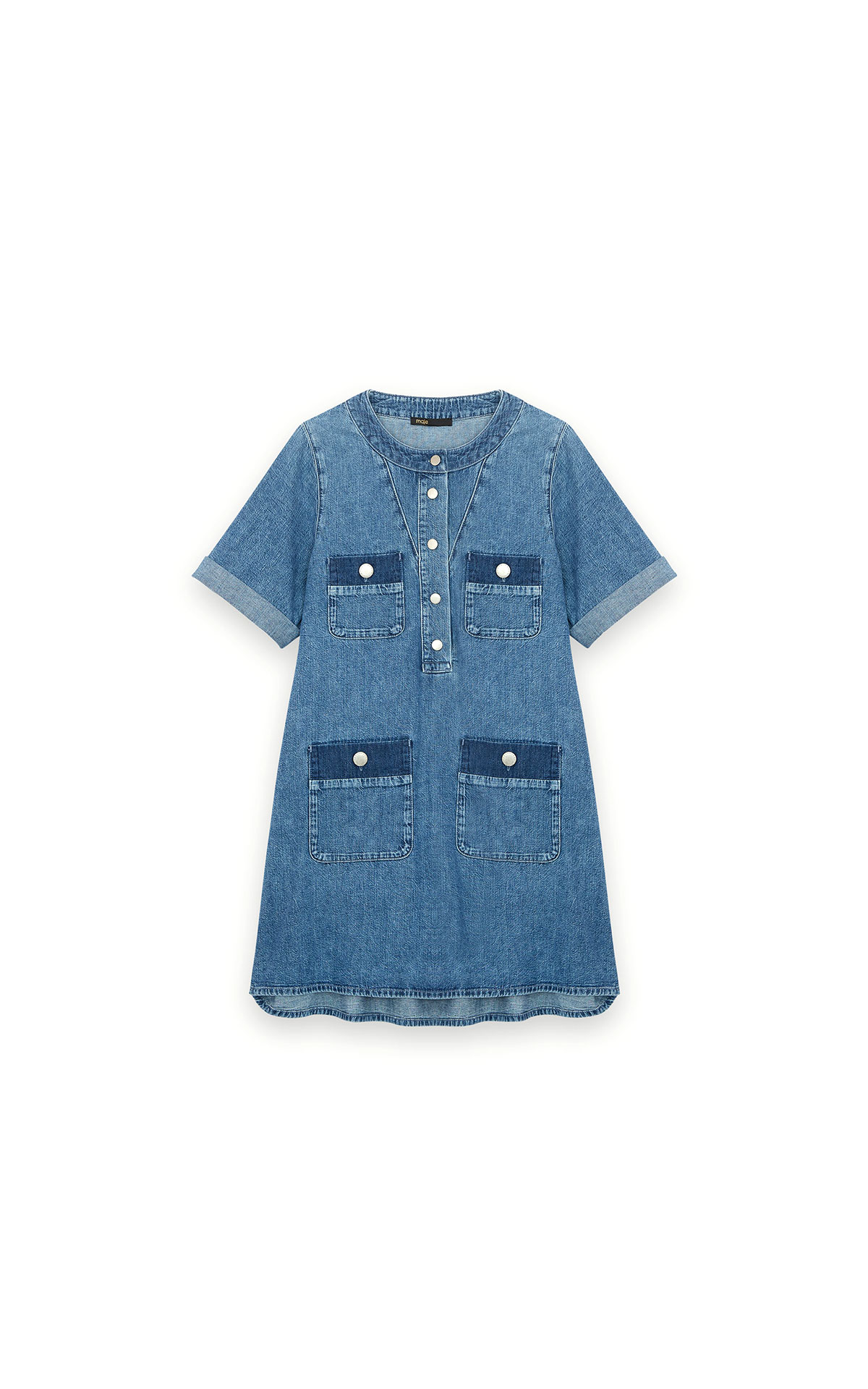 Maje short jean dress with short sleeves at the Bicester Village Shopping Collection
