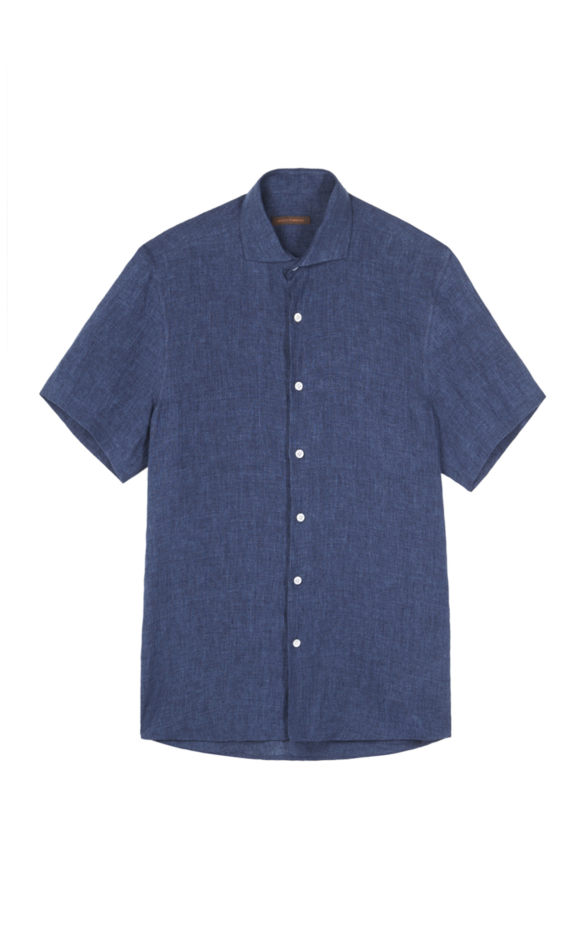 Blue linen shirt short sleeves Adolfo Dominguez