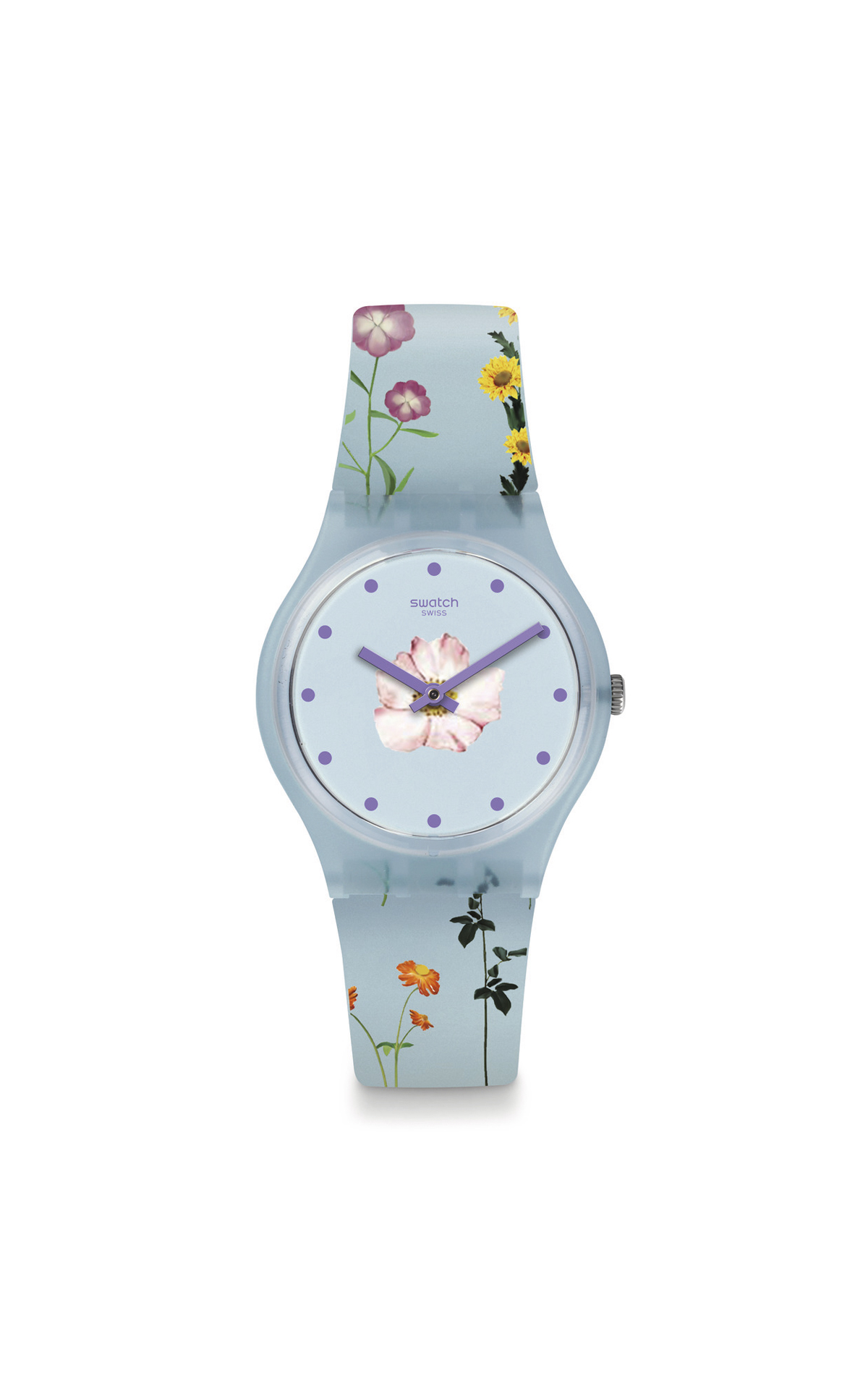 Blue watch with flowers Swatch