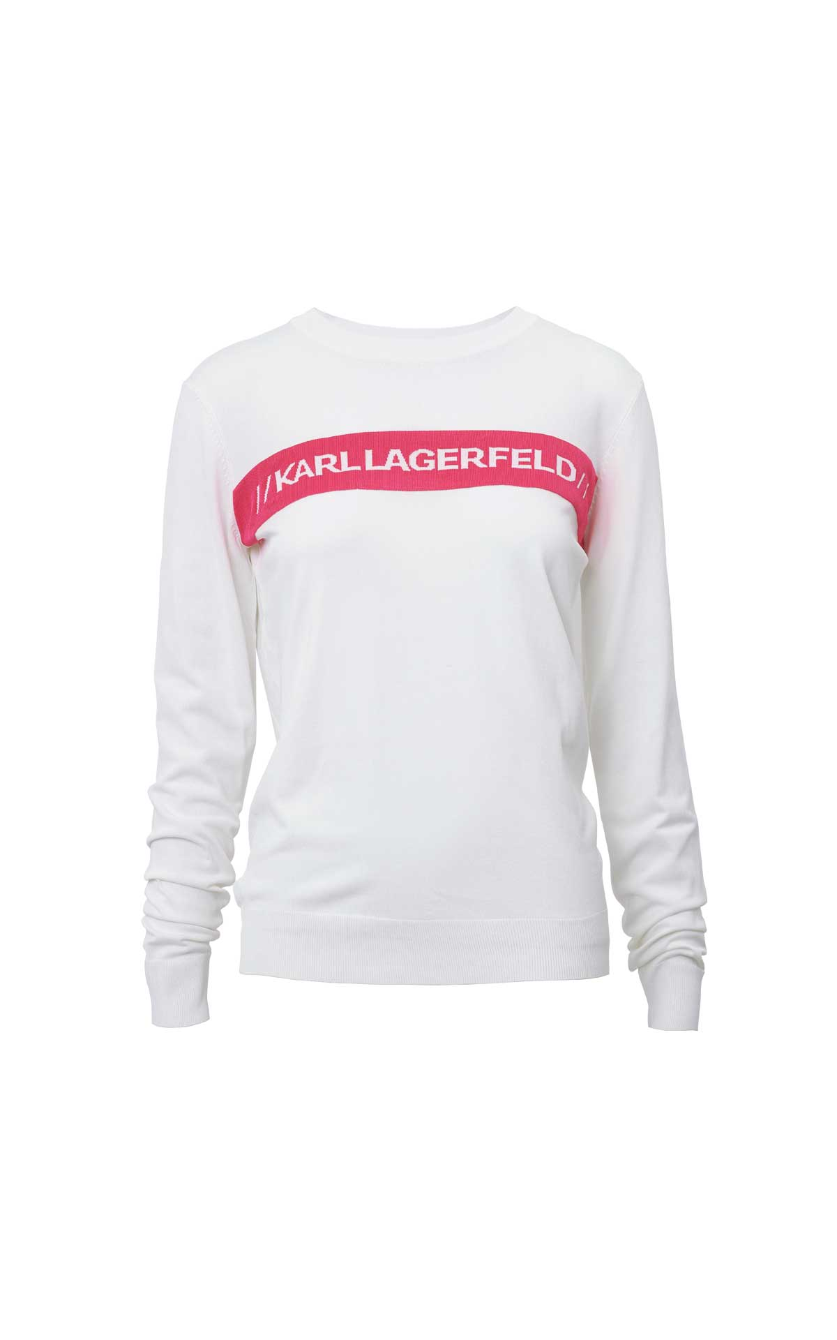 White sweater with logo in pink Karl Lagerfeld