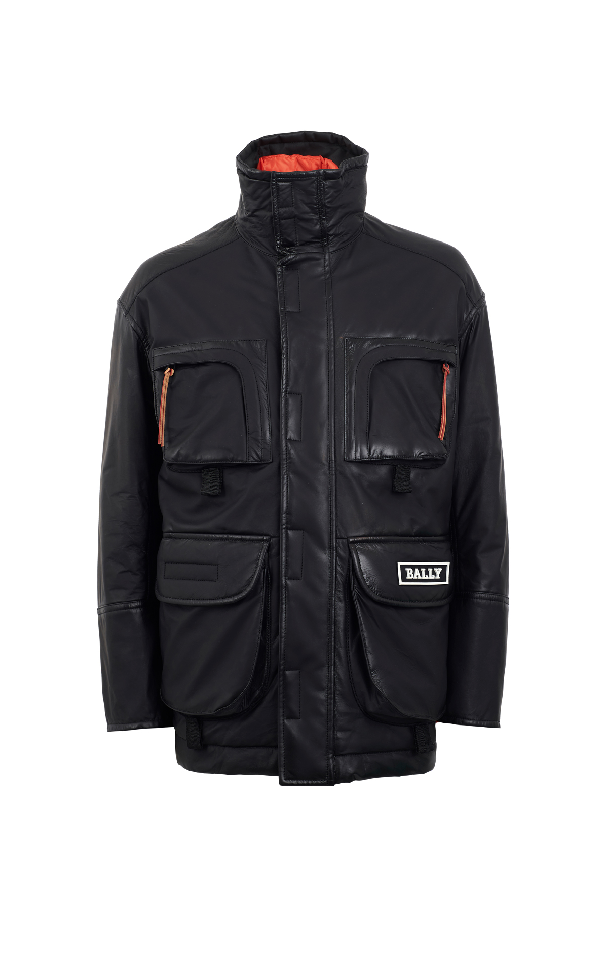 Black leather coat Bally