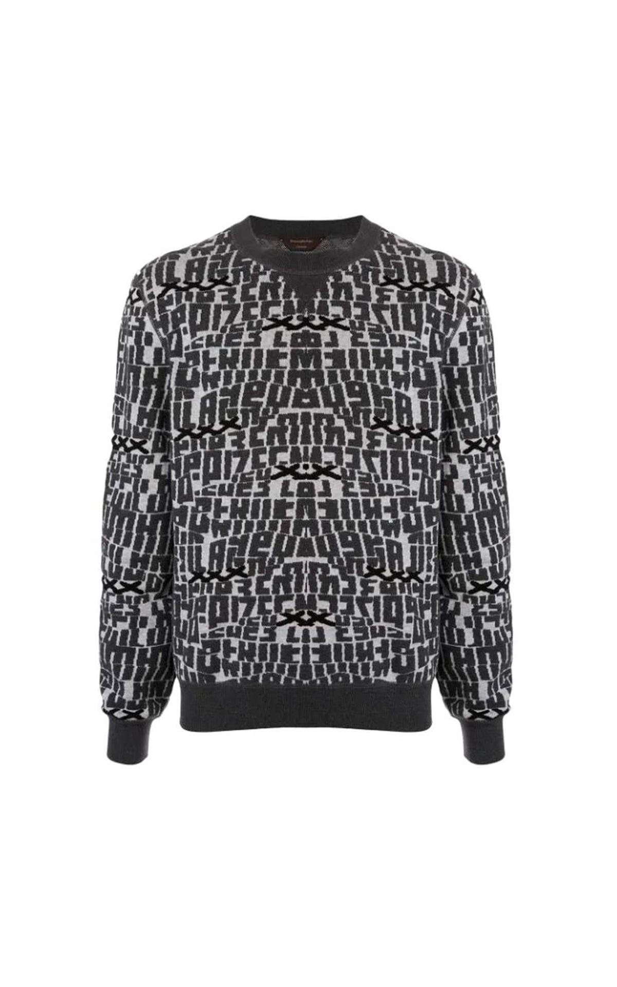 Grey printed sweater for man Ermenegildo Zegna