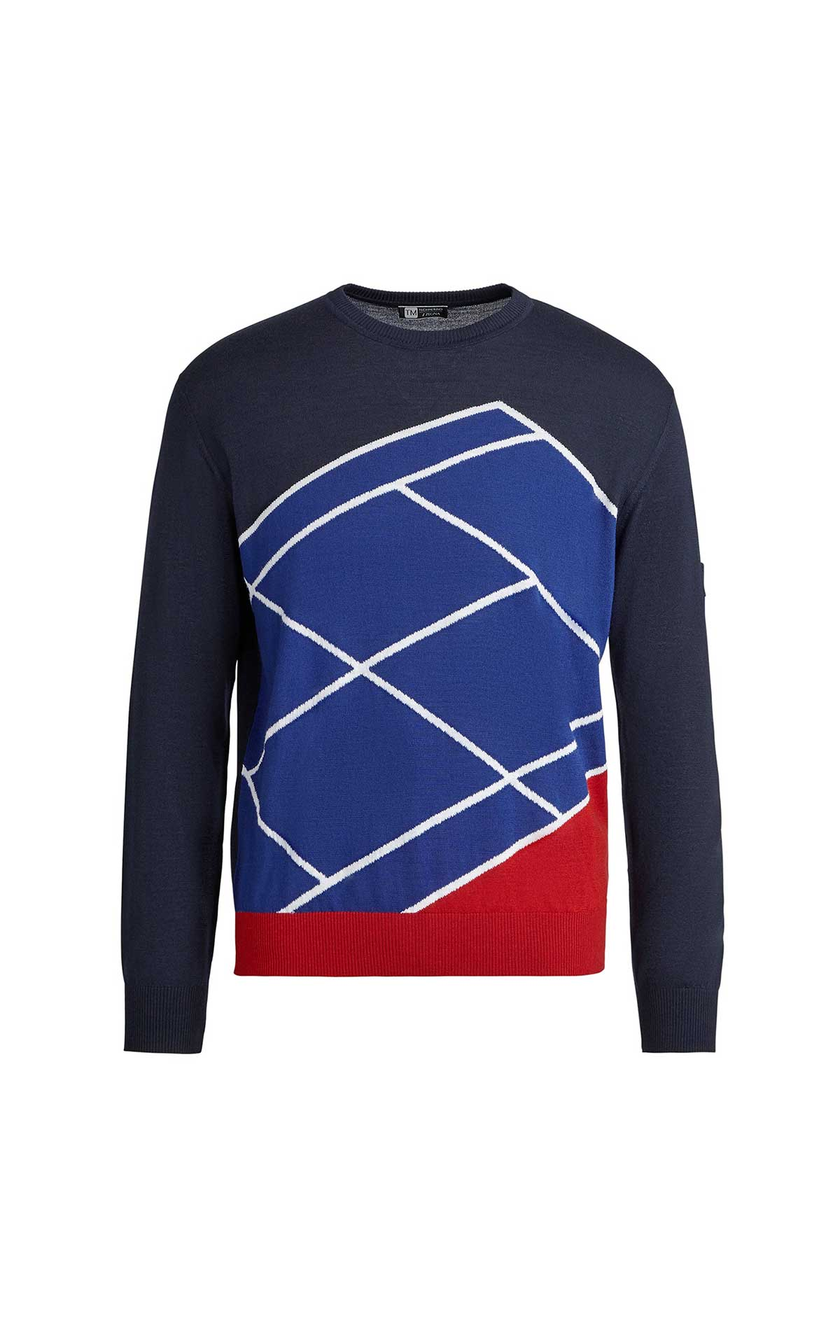 Blue and red cotton sweater for man Ermenegildo Zegna
