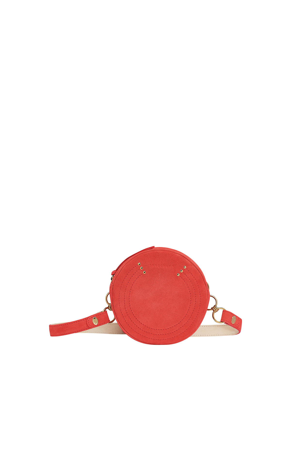 Longchamp Cavalcade belt bag in coral suede from Bicester Village