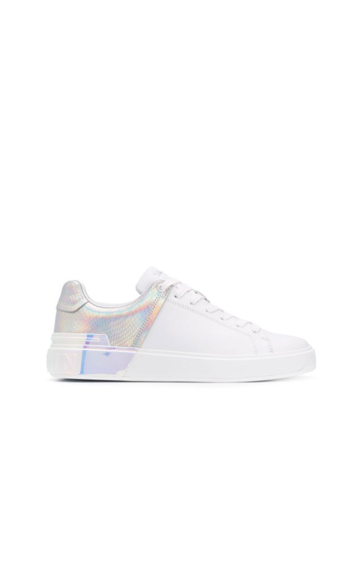Balmain B-Court snakeskin-effect holographic sneaker from Bicester Village