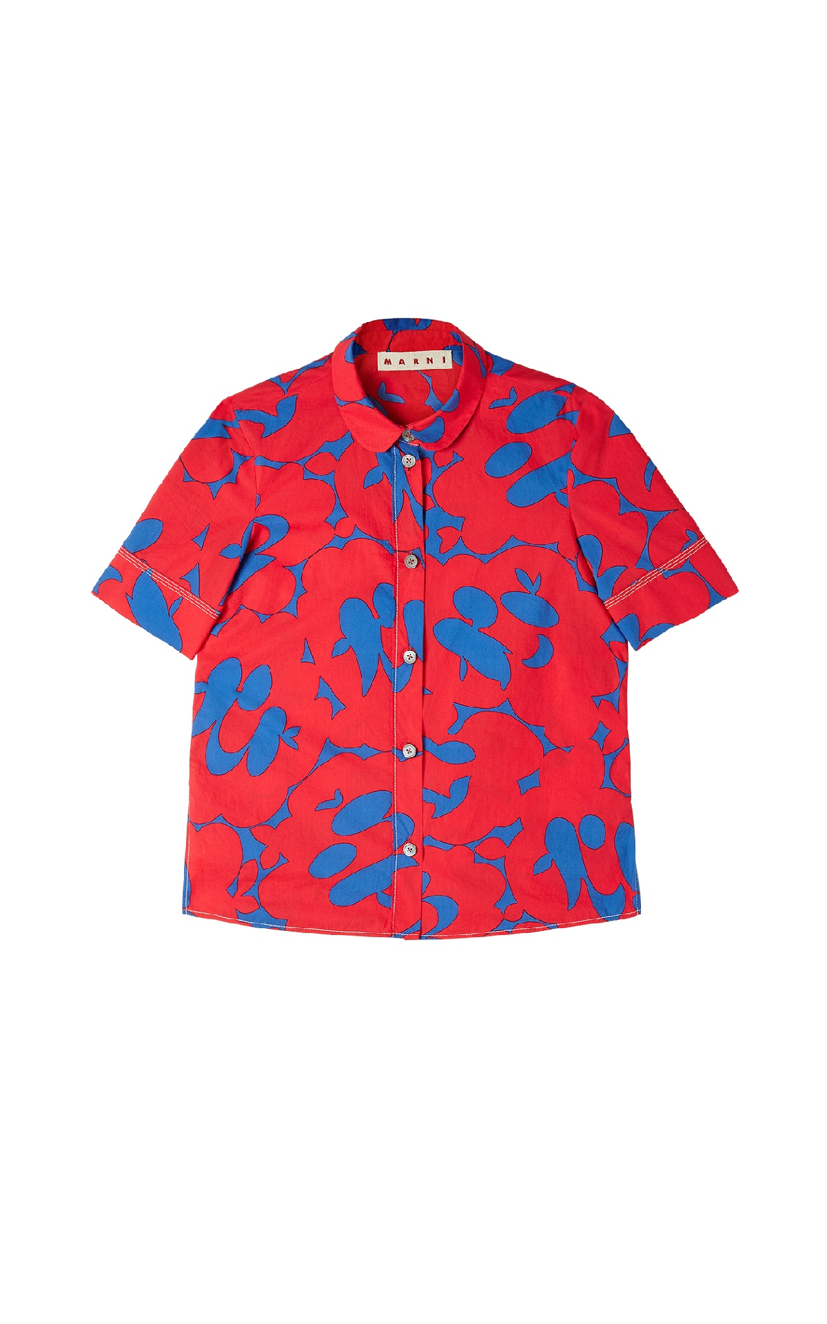 Blue and red printed shirt with short sleeves Marni