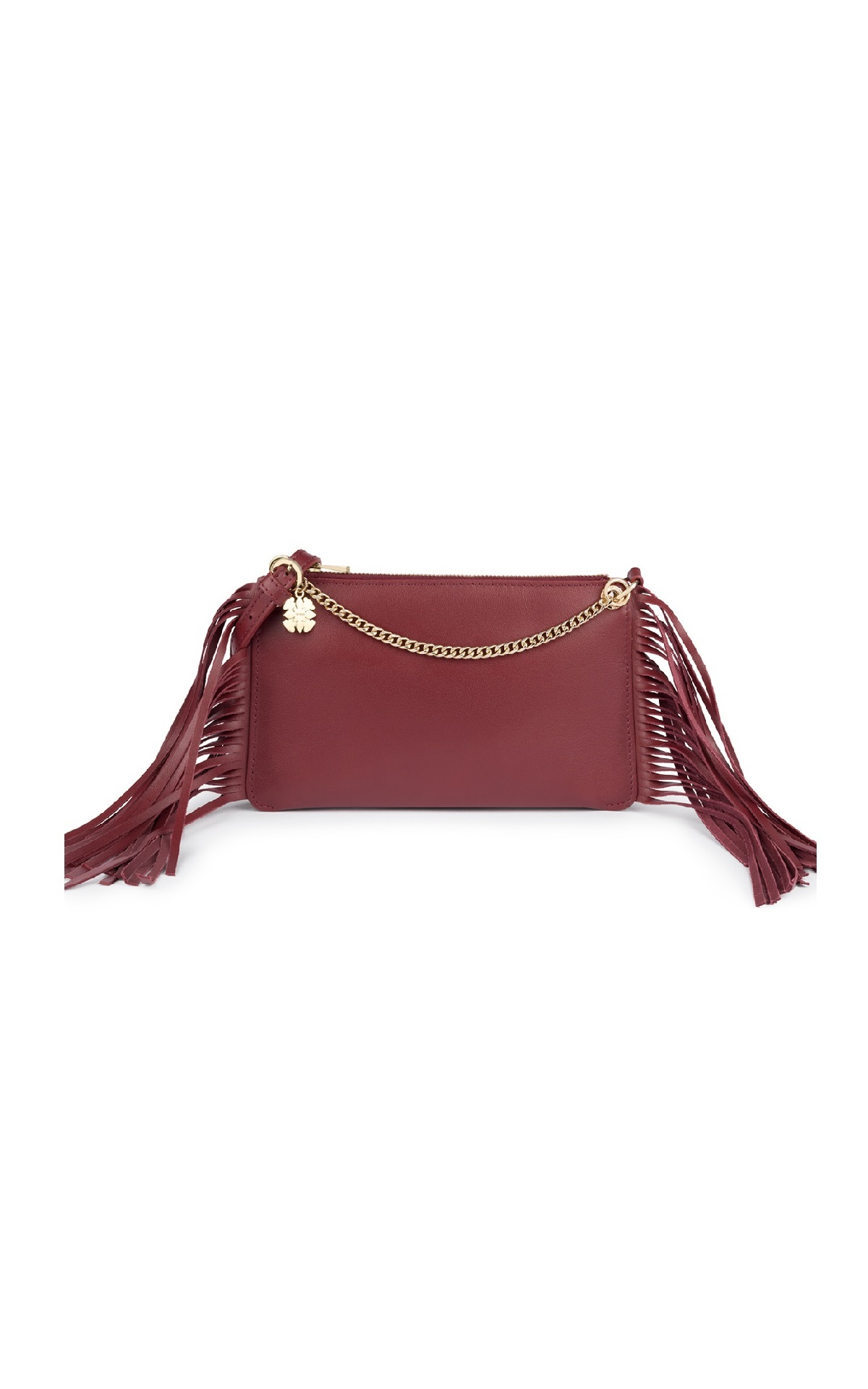 Burgundy bag with fringes Tous
