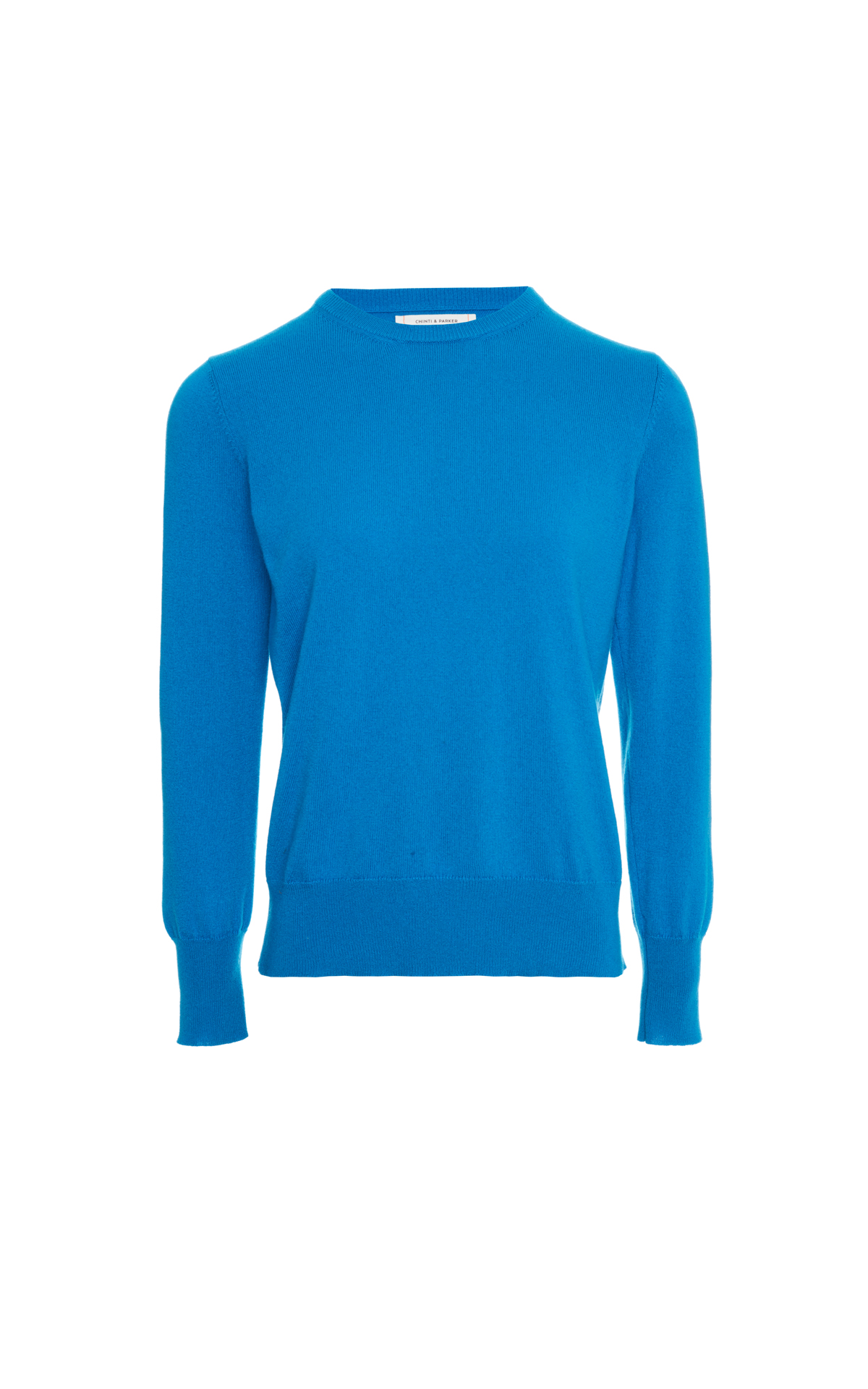 Chinti & Parker Teal crew neck sweater from Bicester Village