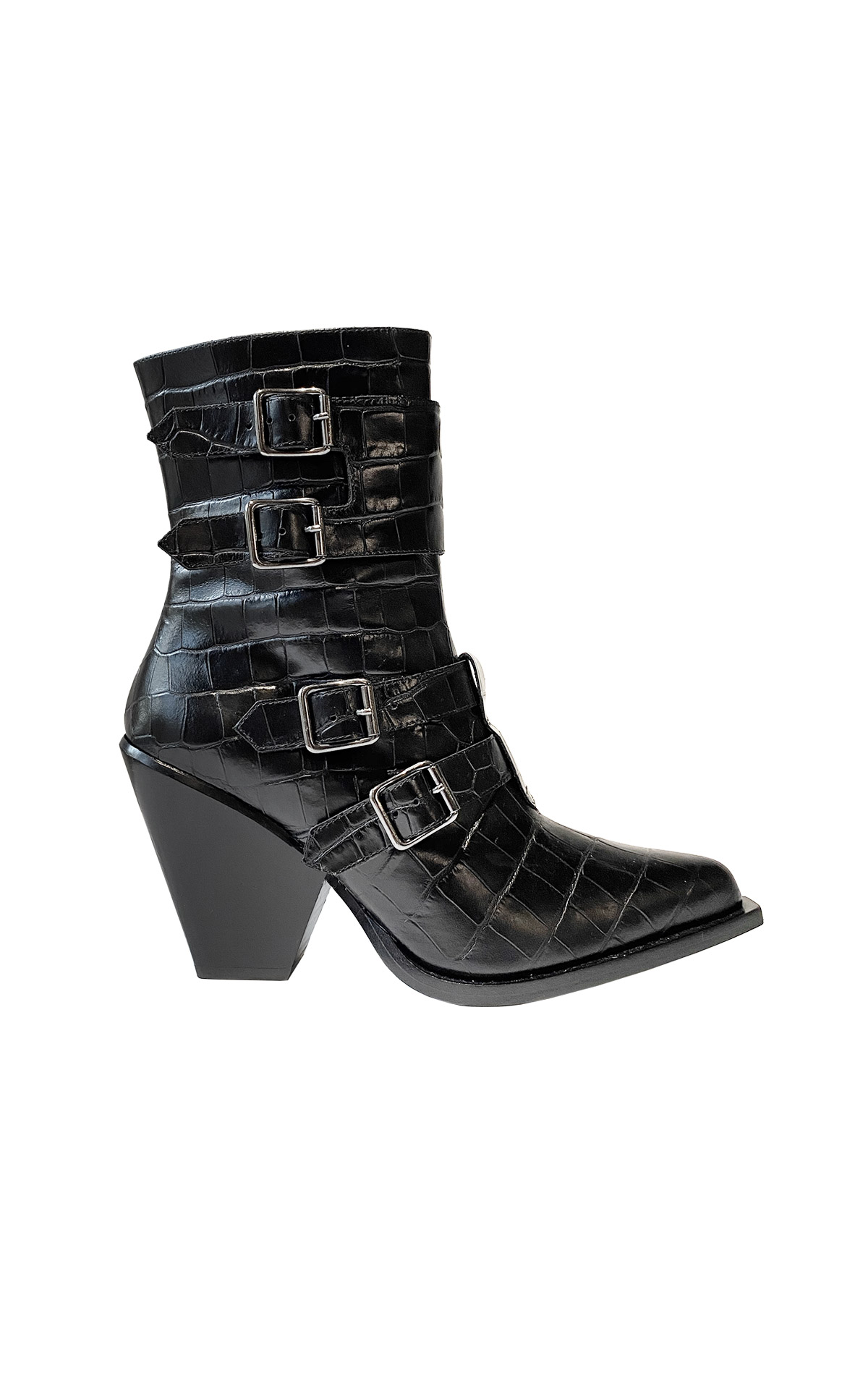 Croco black ankle boots Pinko