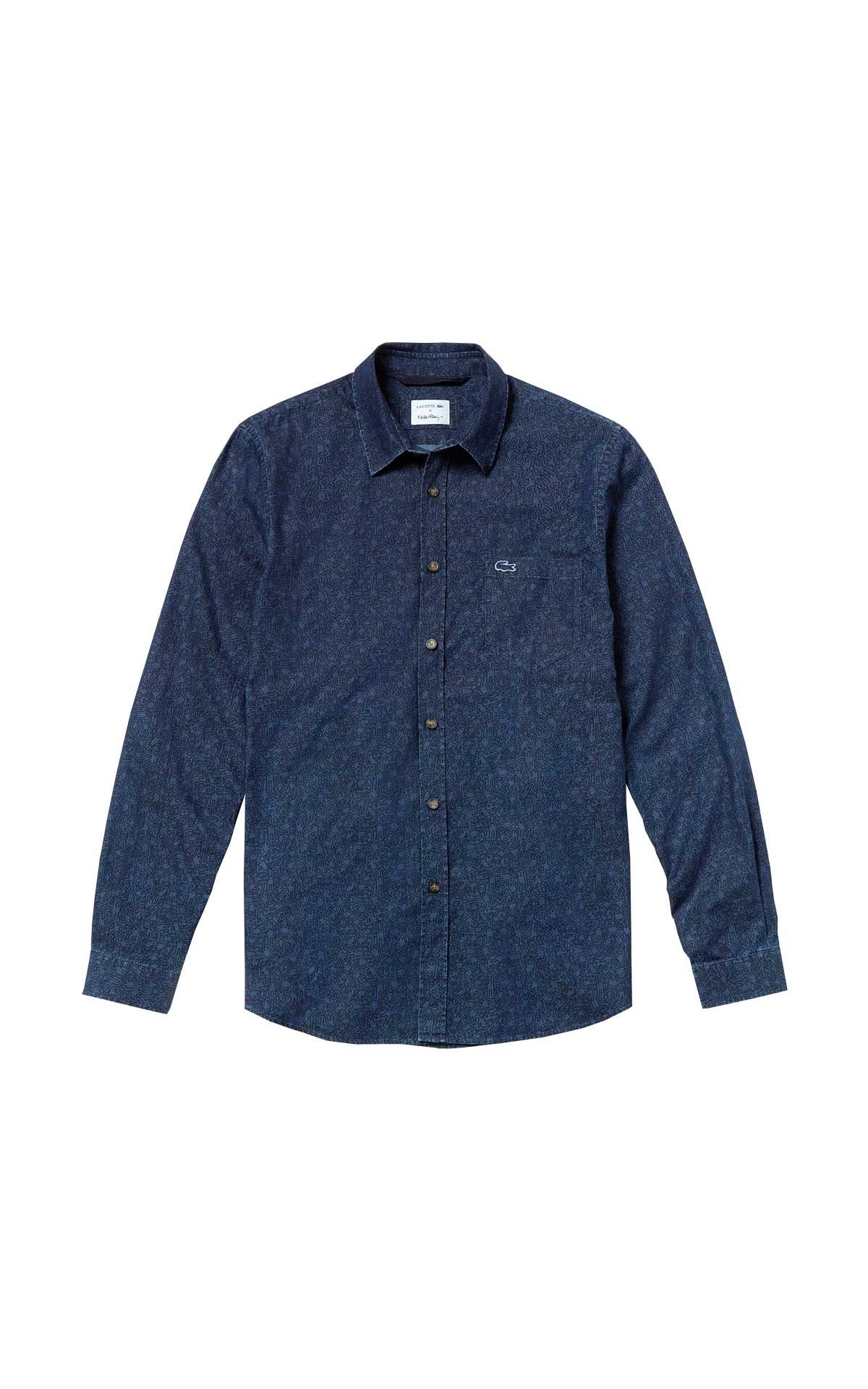 Blue cotton printed shirt for man Lacoste