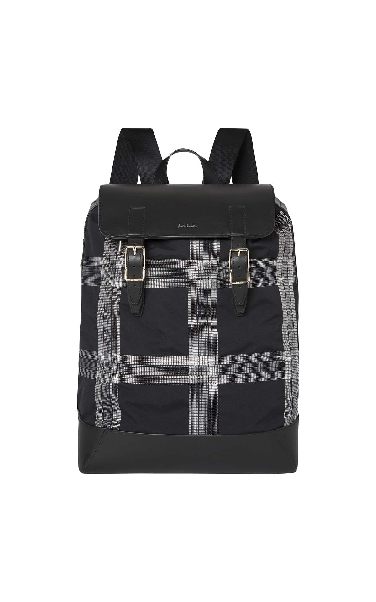 Paul Smith Men's Checked Black Rucksack at The Bicester Village Shopping Collection