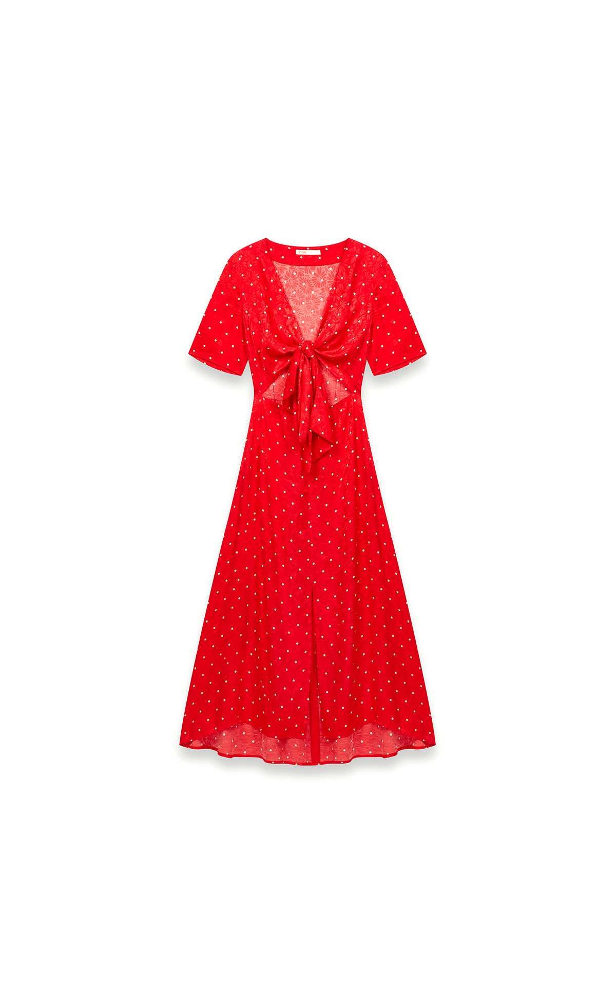 Maje long tie dress with polka dot print at The Bicester Village Shopping Collection