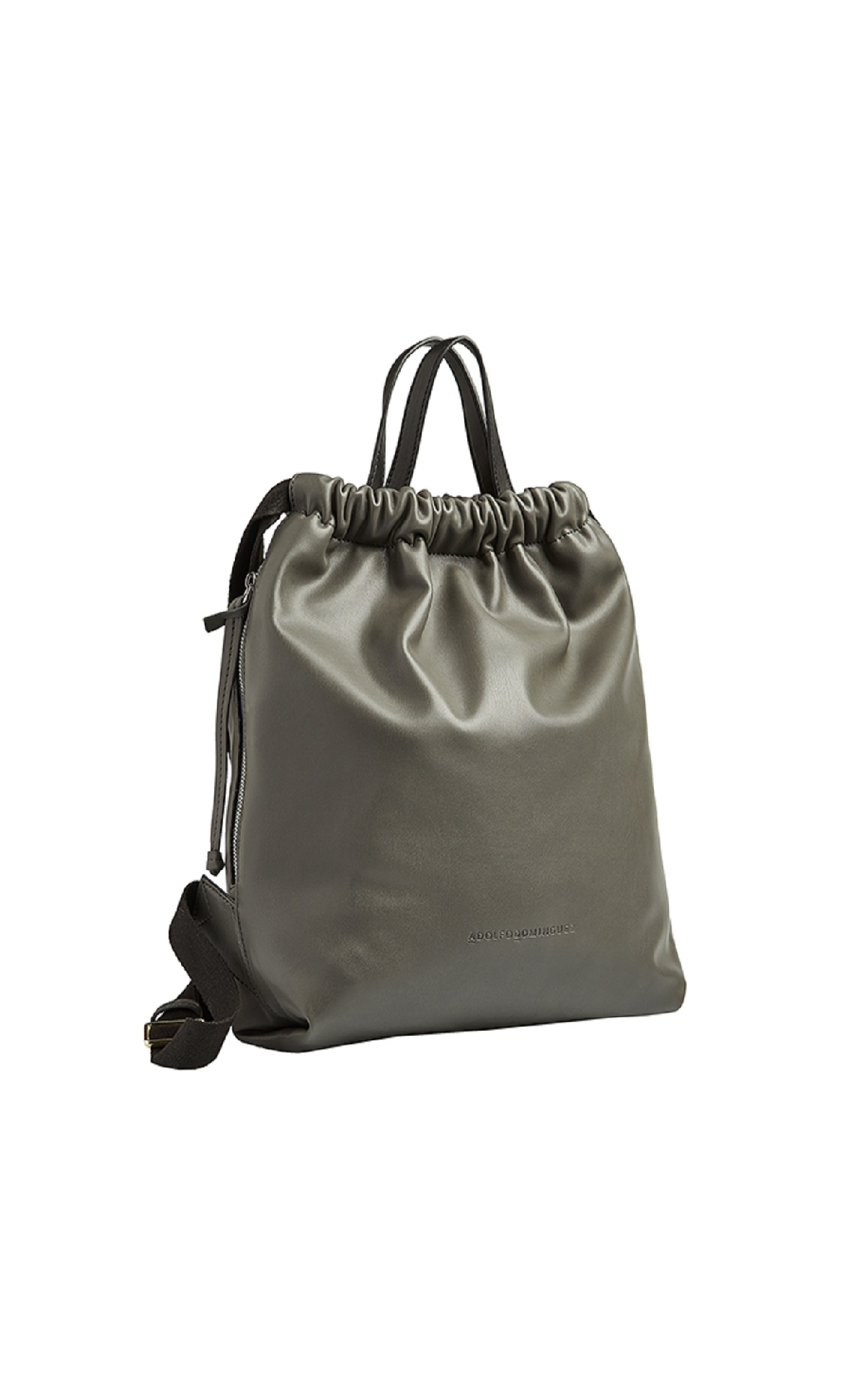 Khaki leather bag Adolfo Dominguez