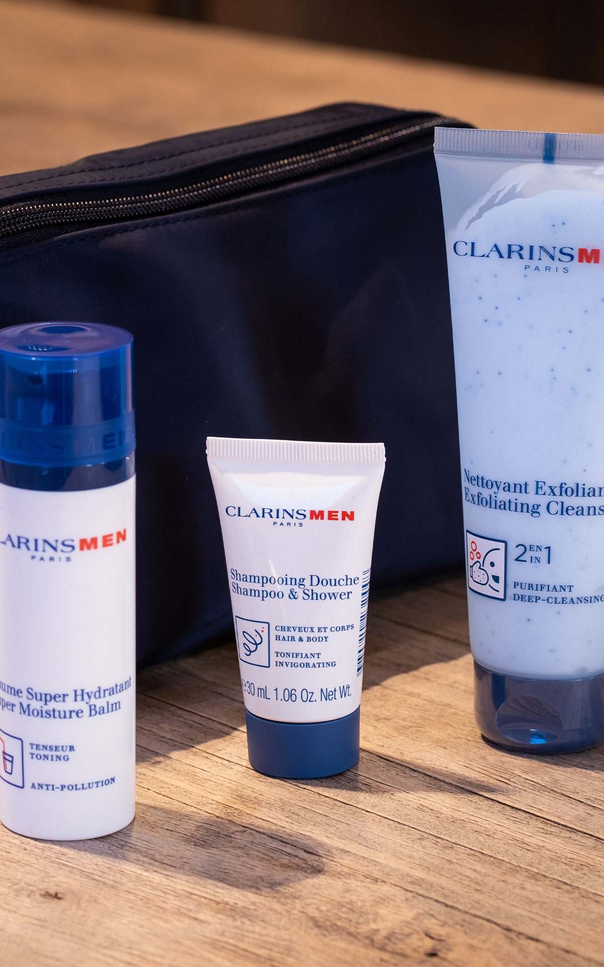 Clarins Men's essential collection from Bicester Village