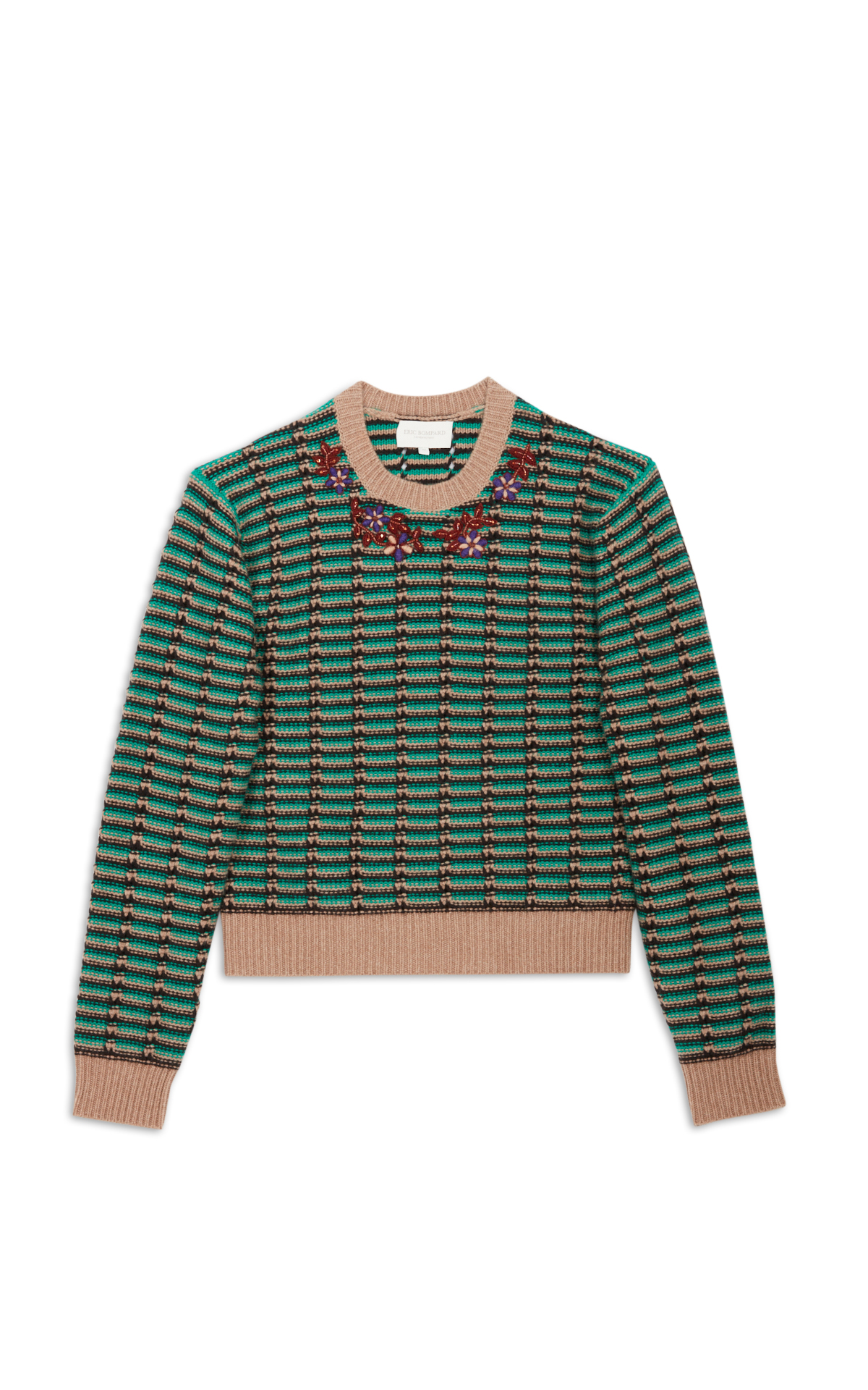 Eric Bompard green and camel jumper la vallée village