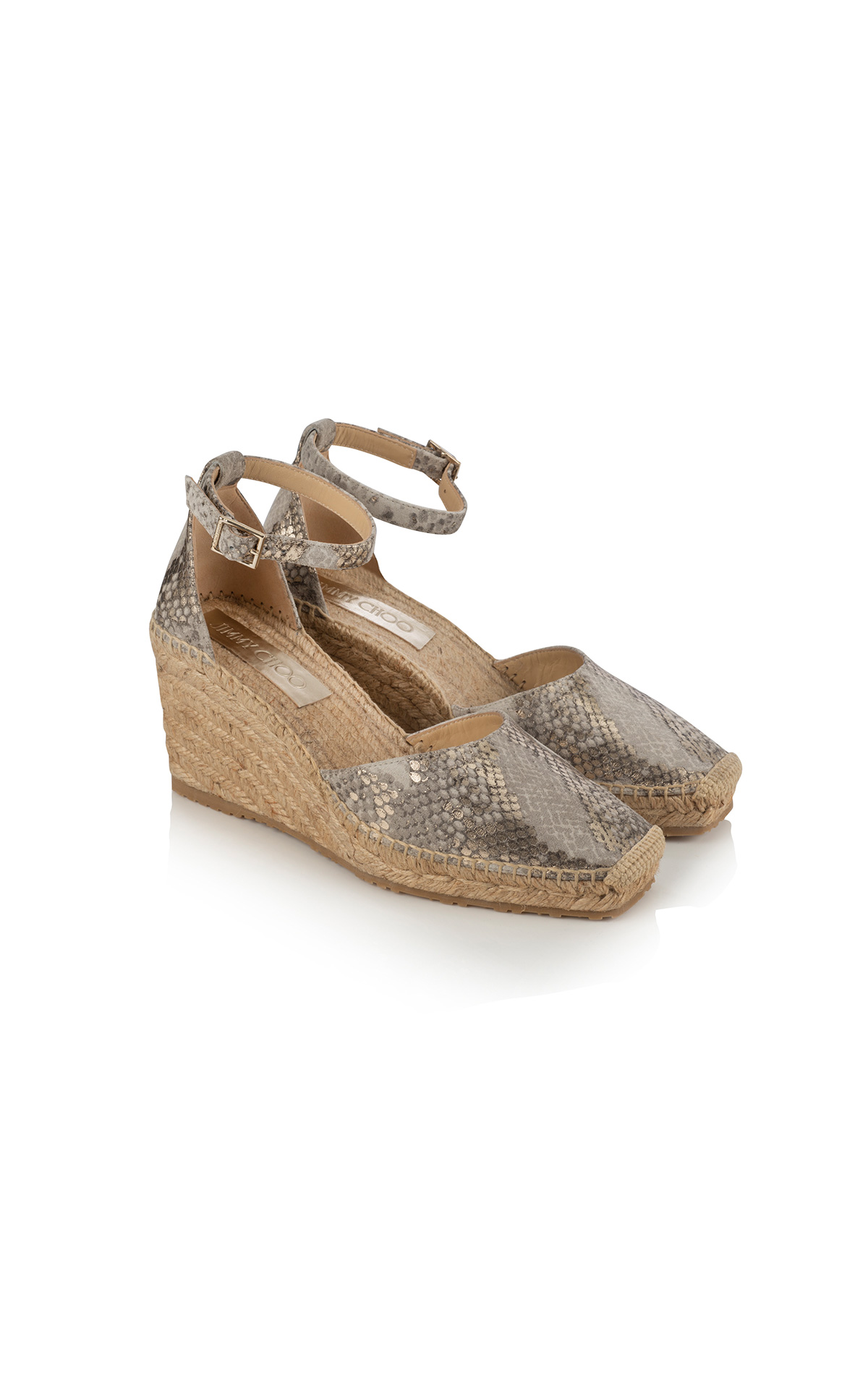 Jimmy Choo Layken 90 in metallic printed suede light khaki at The Bicester Village Shopping Collection