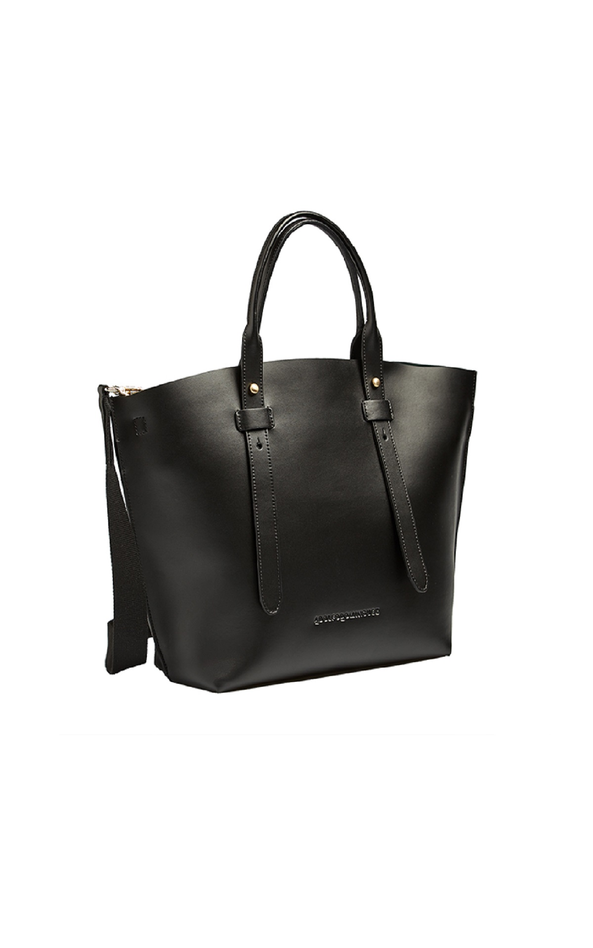 Black leather tote bag Adolfo Dominguez