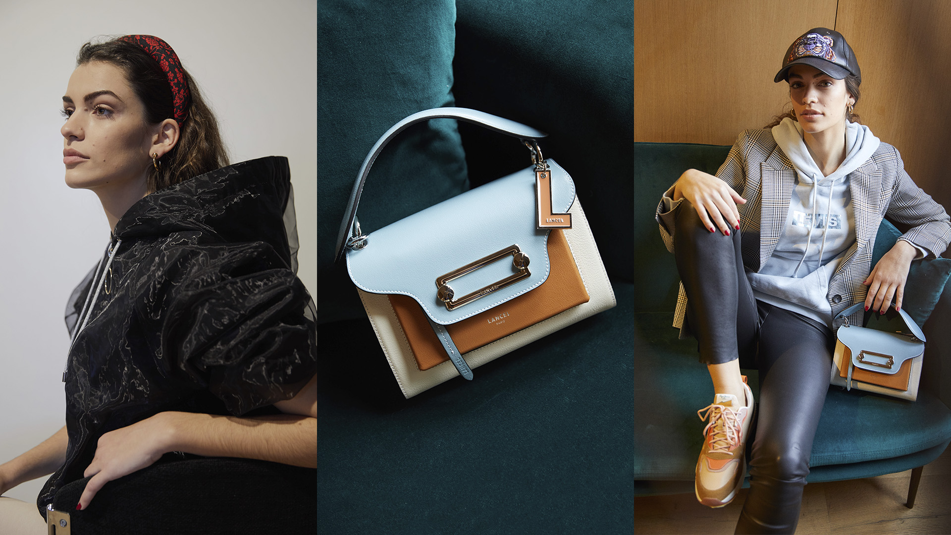 Collage with 3 images from La Roca Village and product focus on a Lancel bag