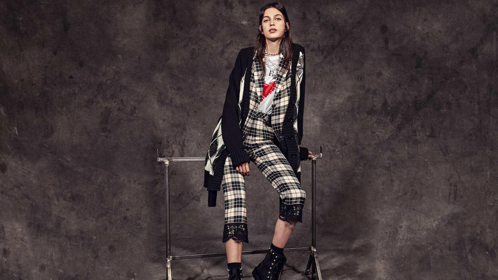 Woman in a checked suit Twinset