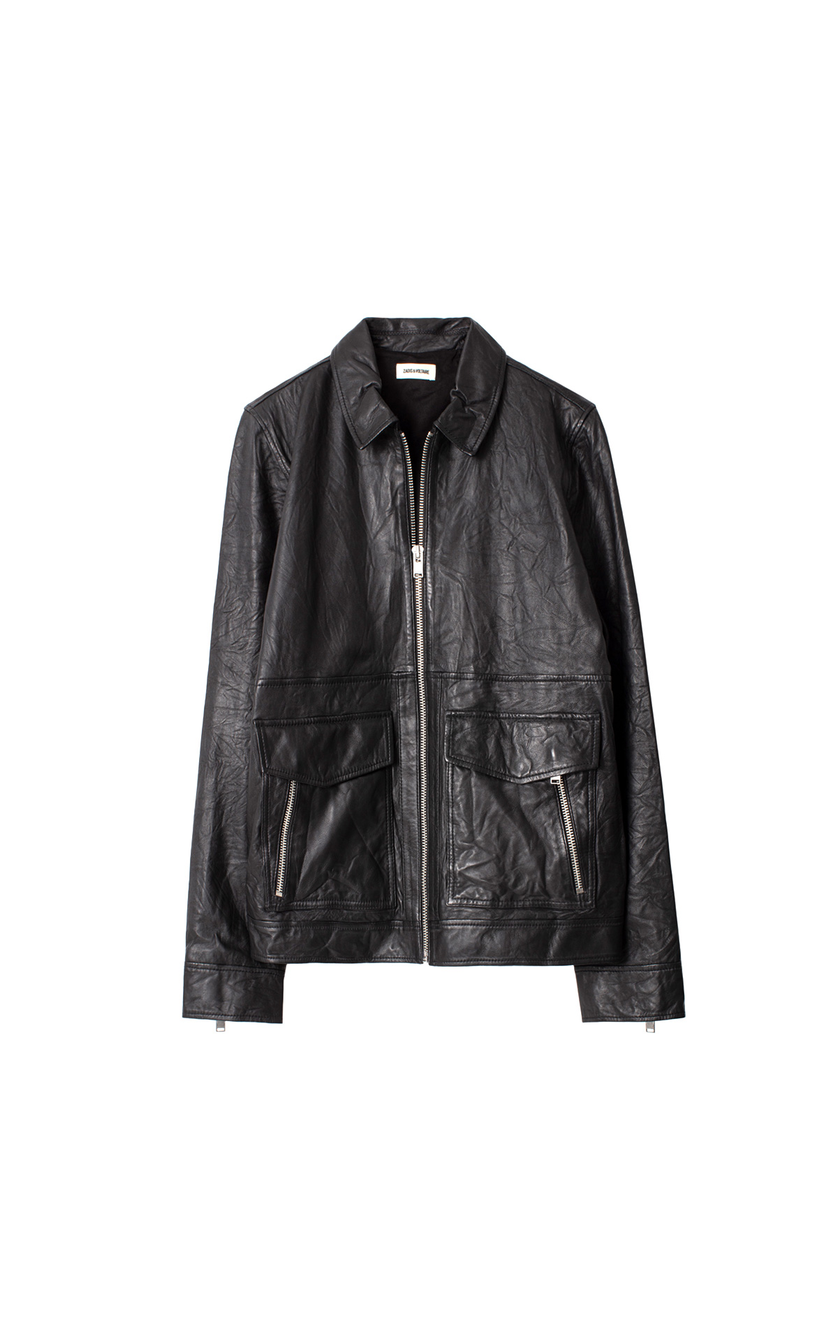 la vallée village zadig and voltaire Bobby crinkle leather jacket
