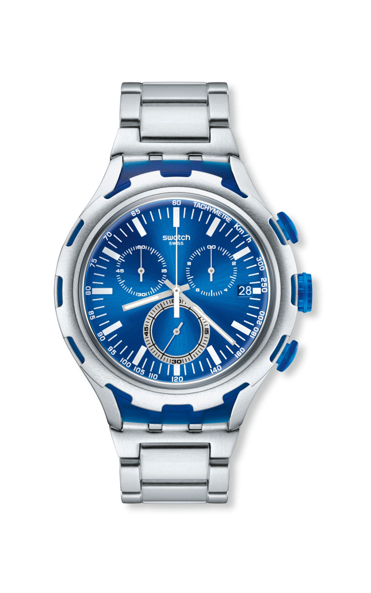 Silver watch with blue dial Swatch