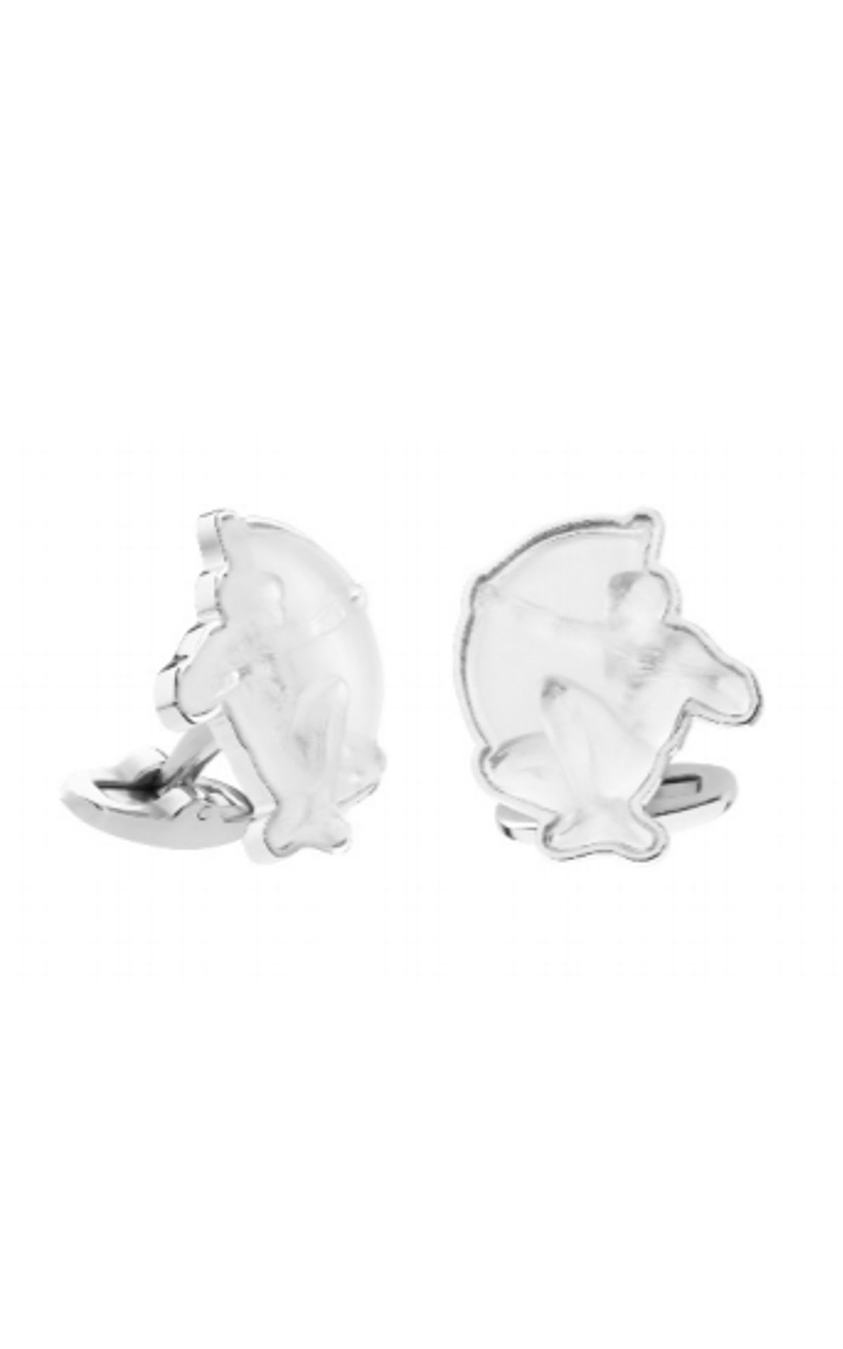 Lalique Mascottes archer cufflinks, clear crystal on silver from Bicester Village