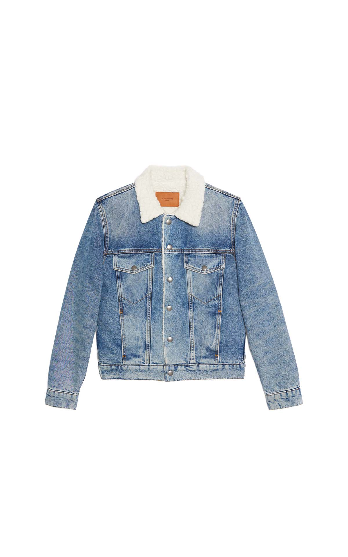 Sandro paris shearling denim jacket at The Bicester Village Shopping Collection