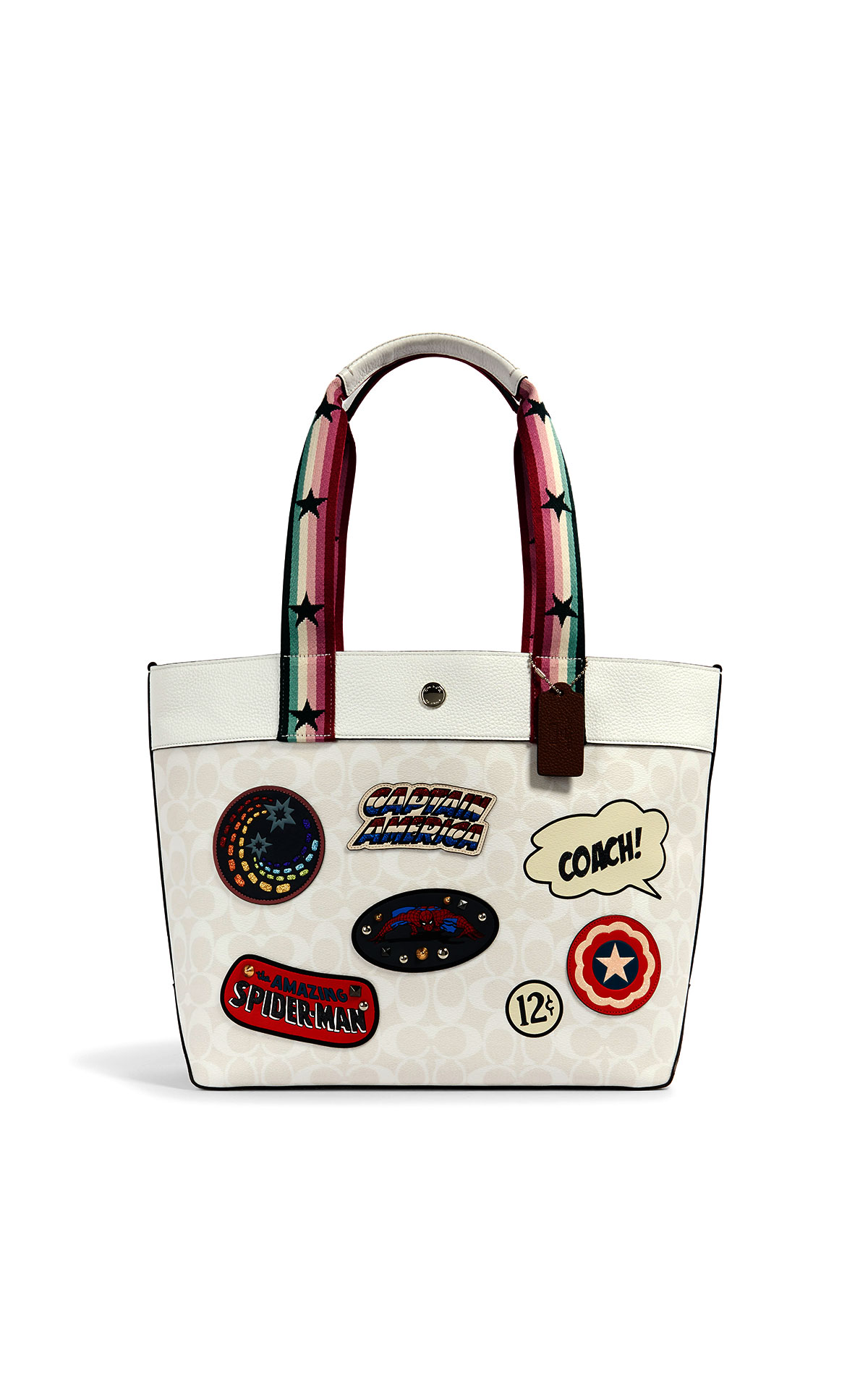 Coach Marvel Patches on Signature Jes Tote at The Bicester Village Shopping Collection