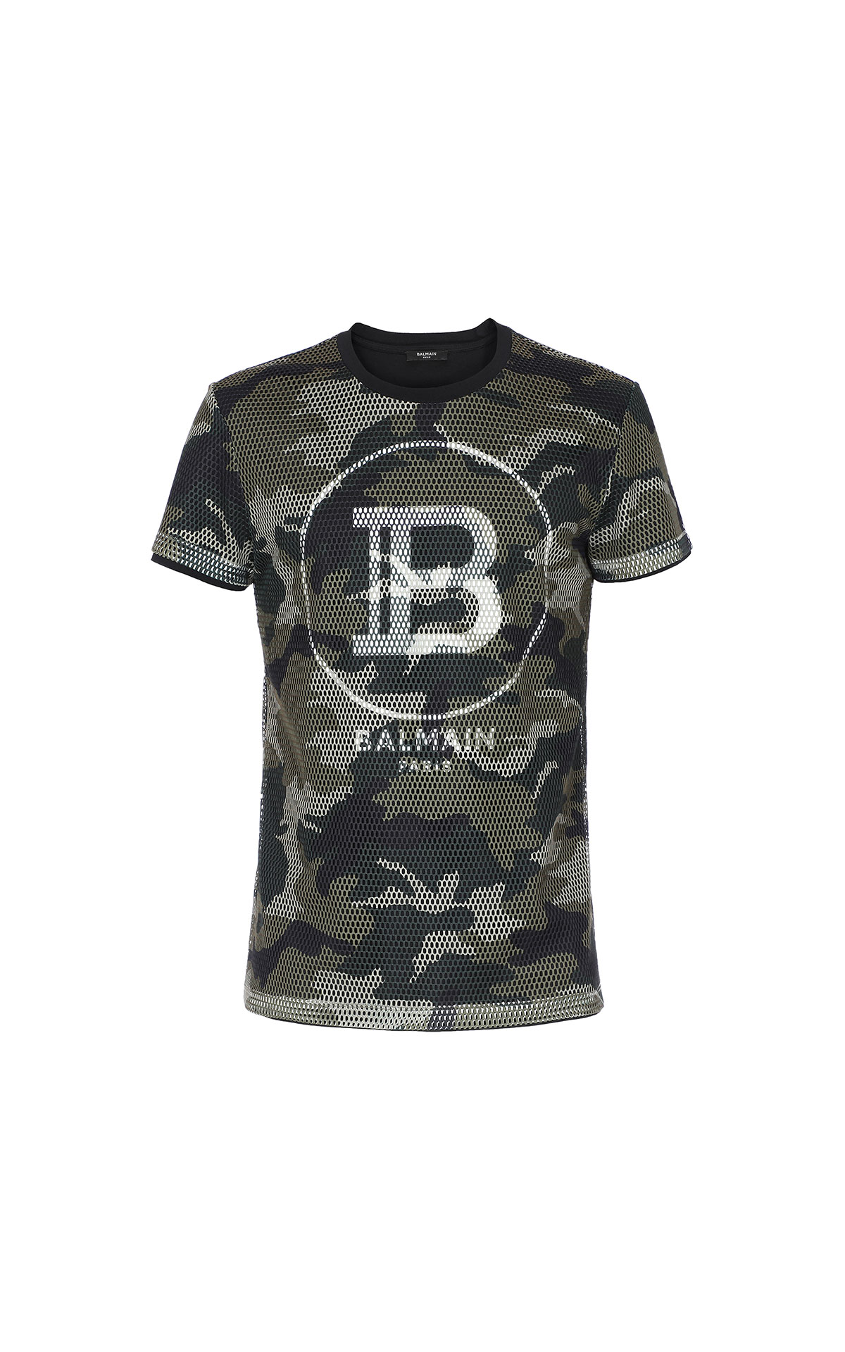 Balmain Camouflage mesh t-shirt from Bicester Village