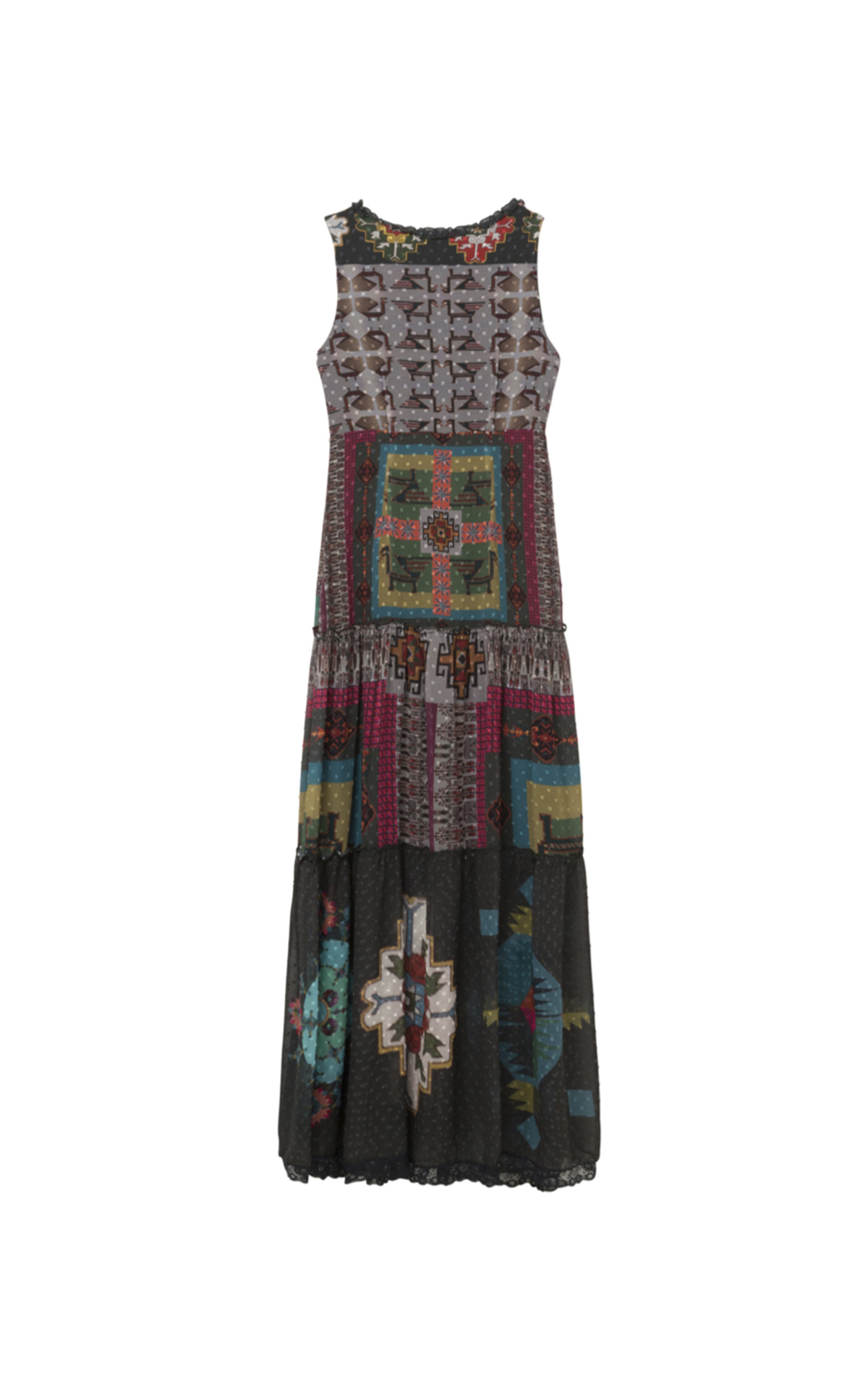 Long black printed woman's dress Desigual