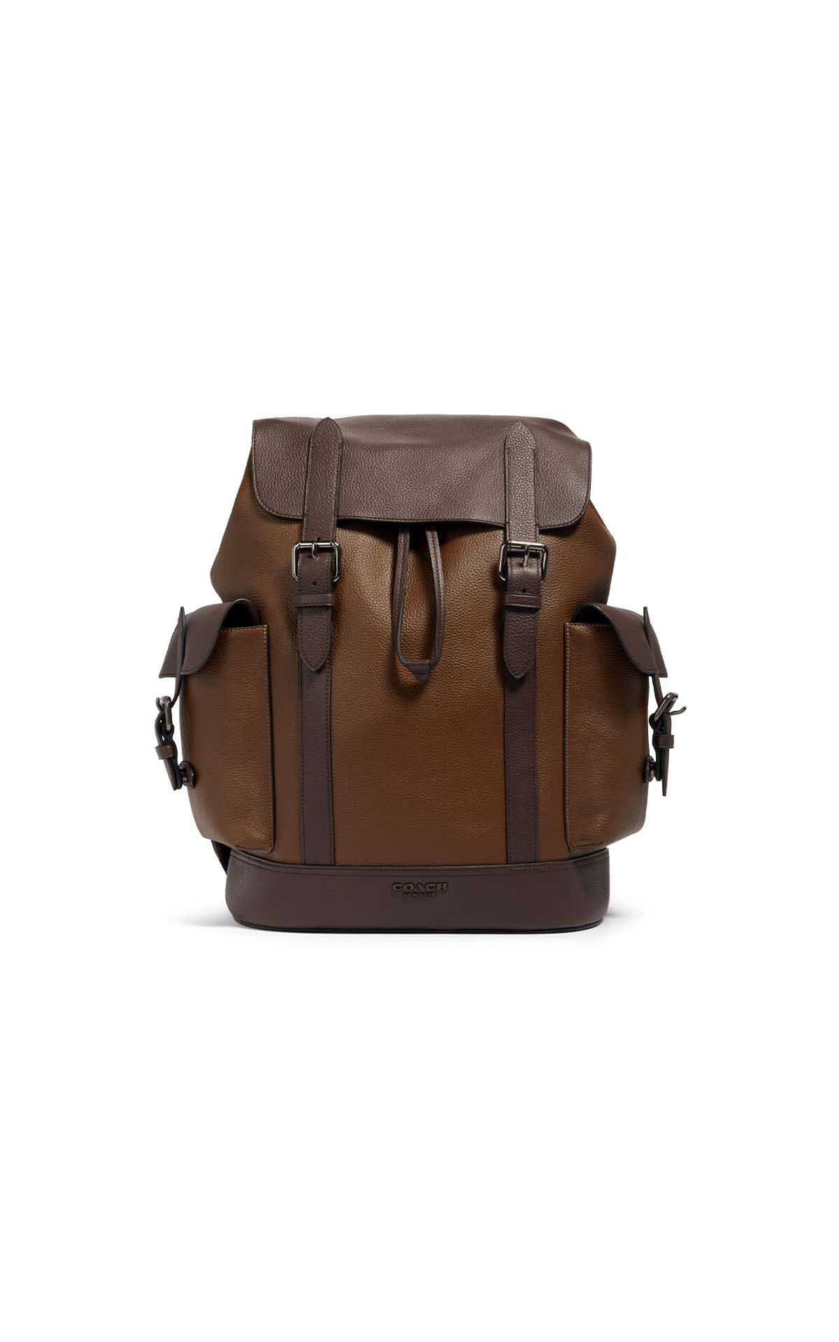 Coach Hudson Backpack in Heritage Colorblock in tobacco/mahogany at The Bicester Village Shopping Collection