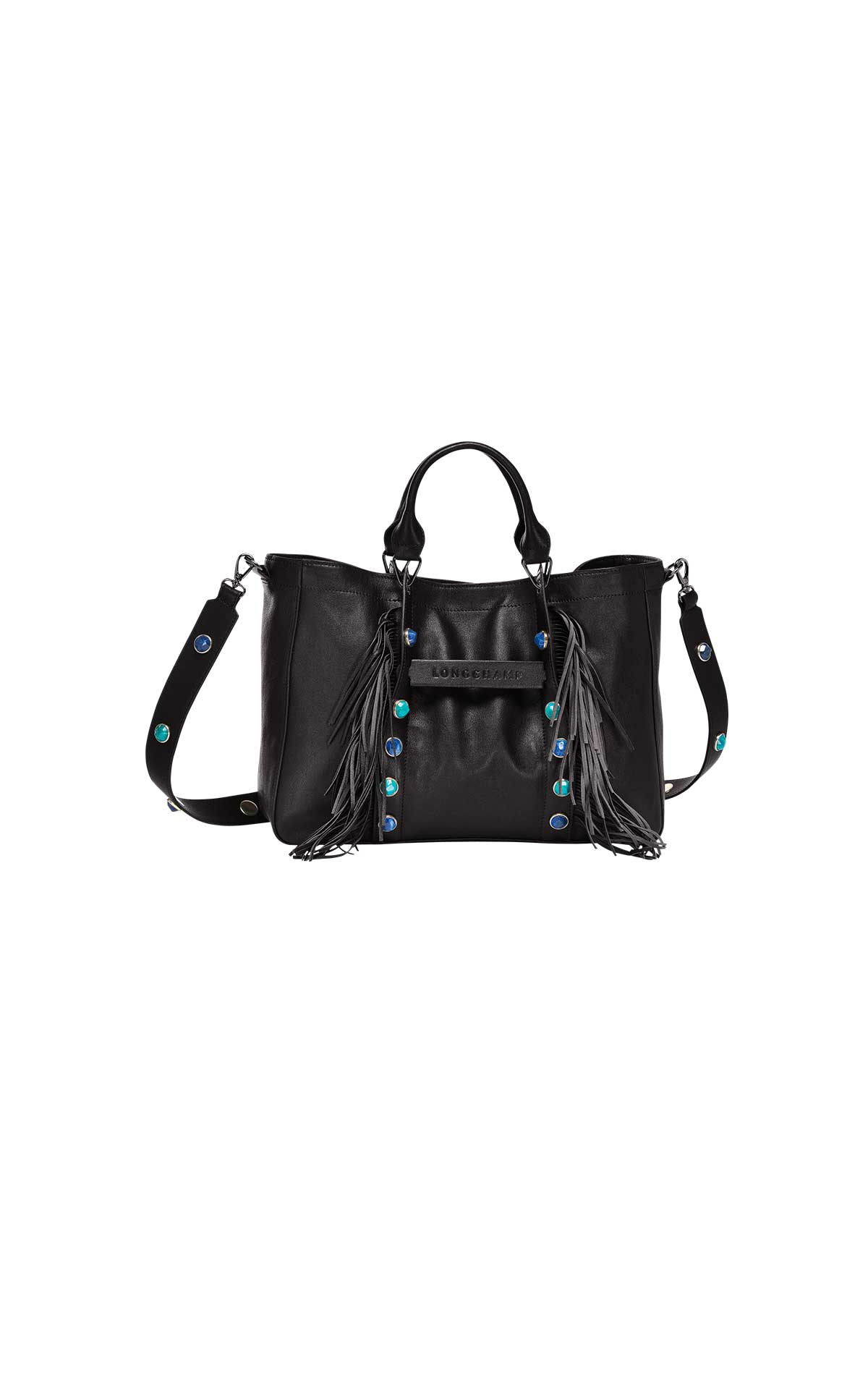 Black bag fringes Longchamp