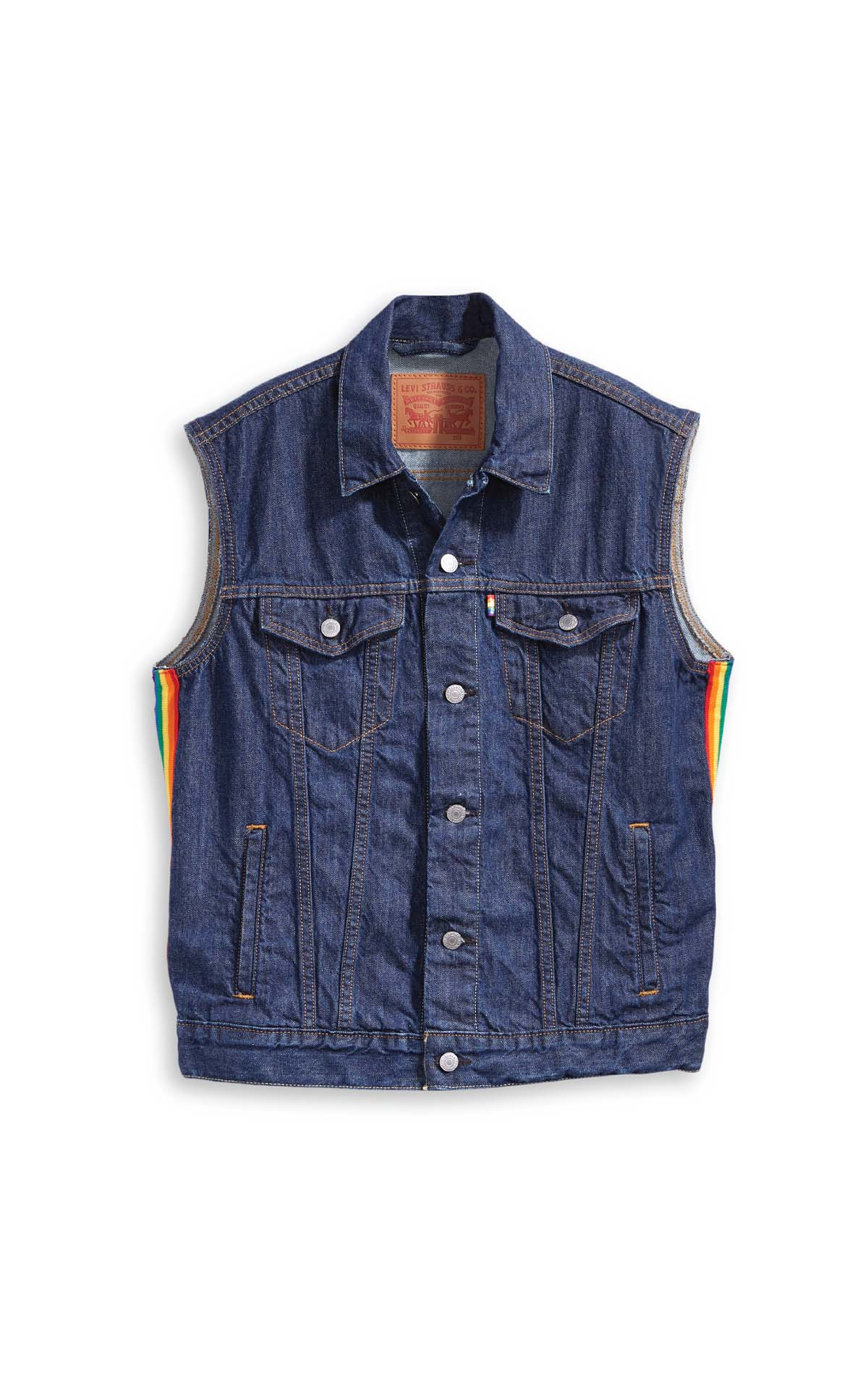 Levi's pride trucker vest at The Bicester Village Shopping Collection