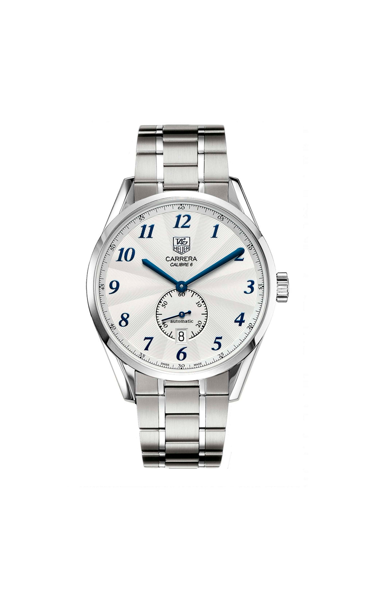Silver Carrera watch with blue details TAG Heuer