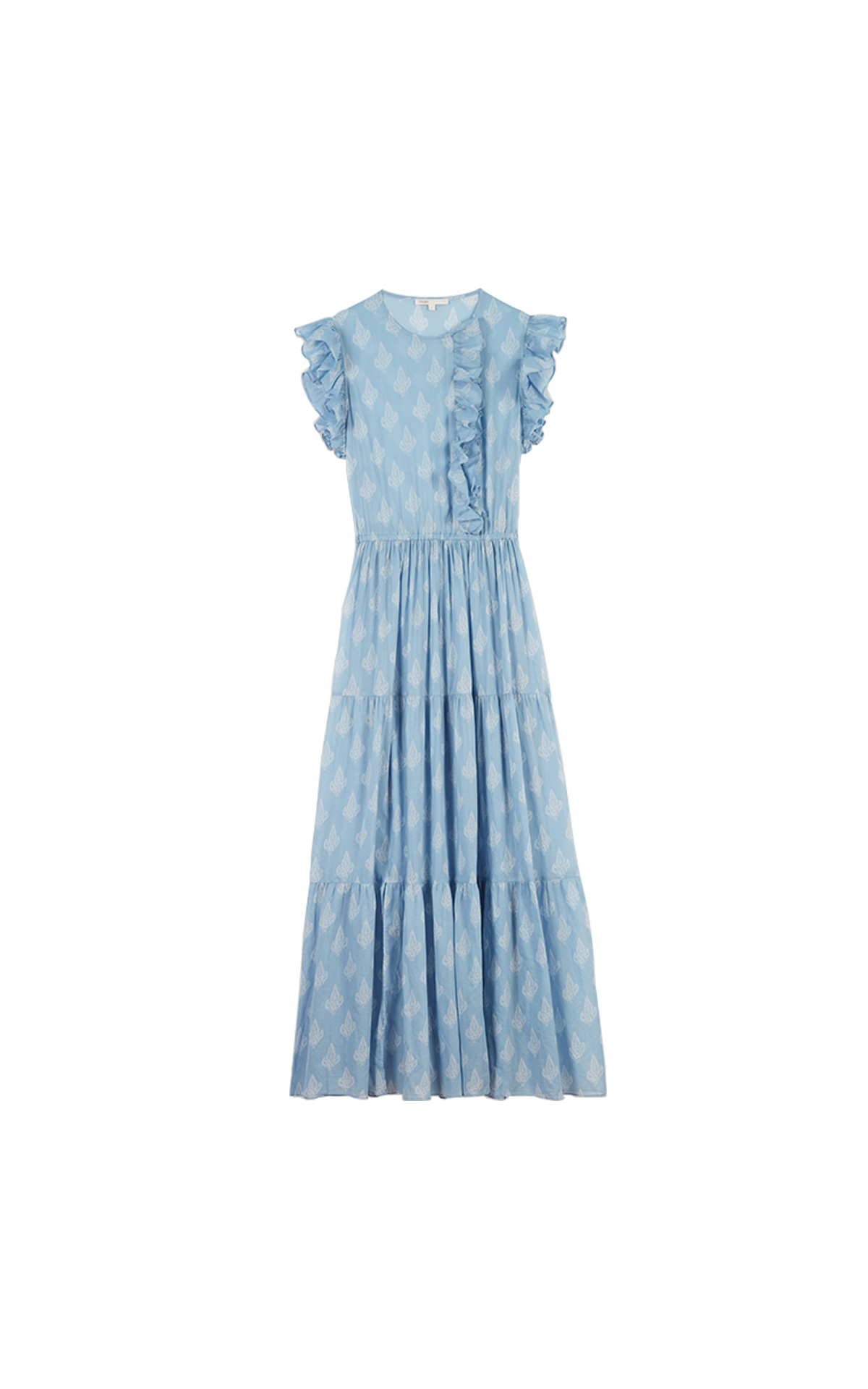 Maje Long printed ruffled dress in blue at The Bicester Village Shopping Collection