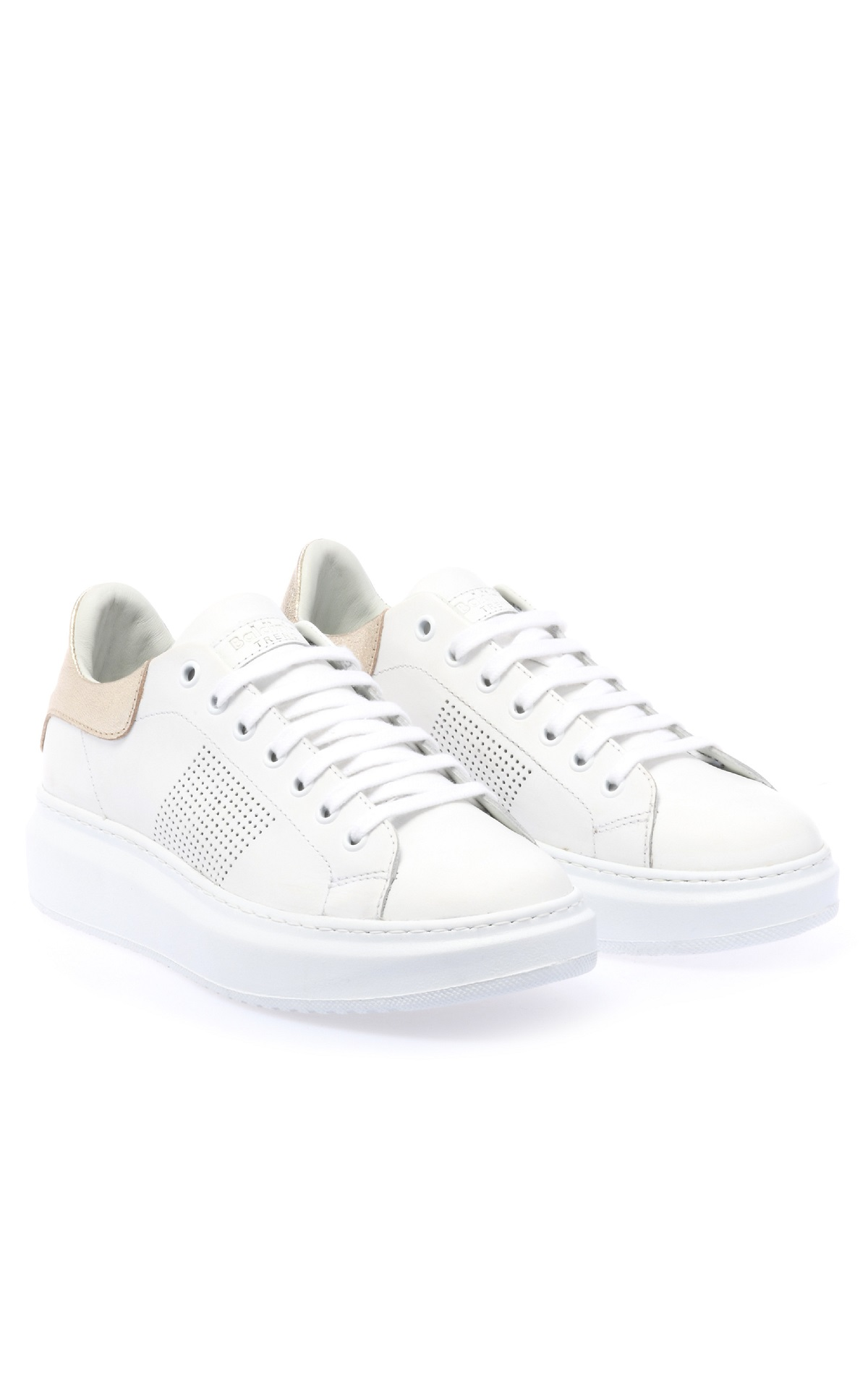 White sneakers with platform for woman Baldinini