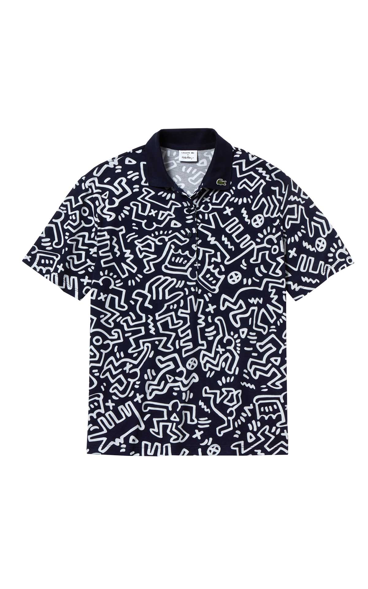 Black and white cotton printed polo shirt for man Lacoste