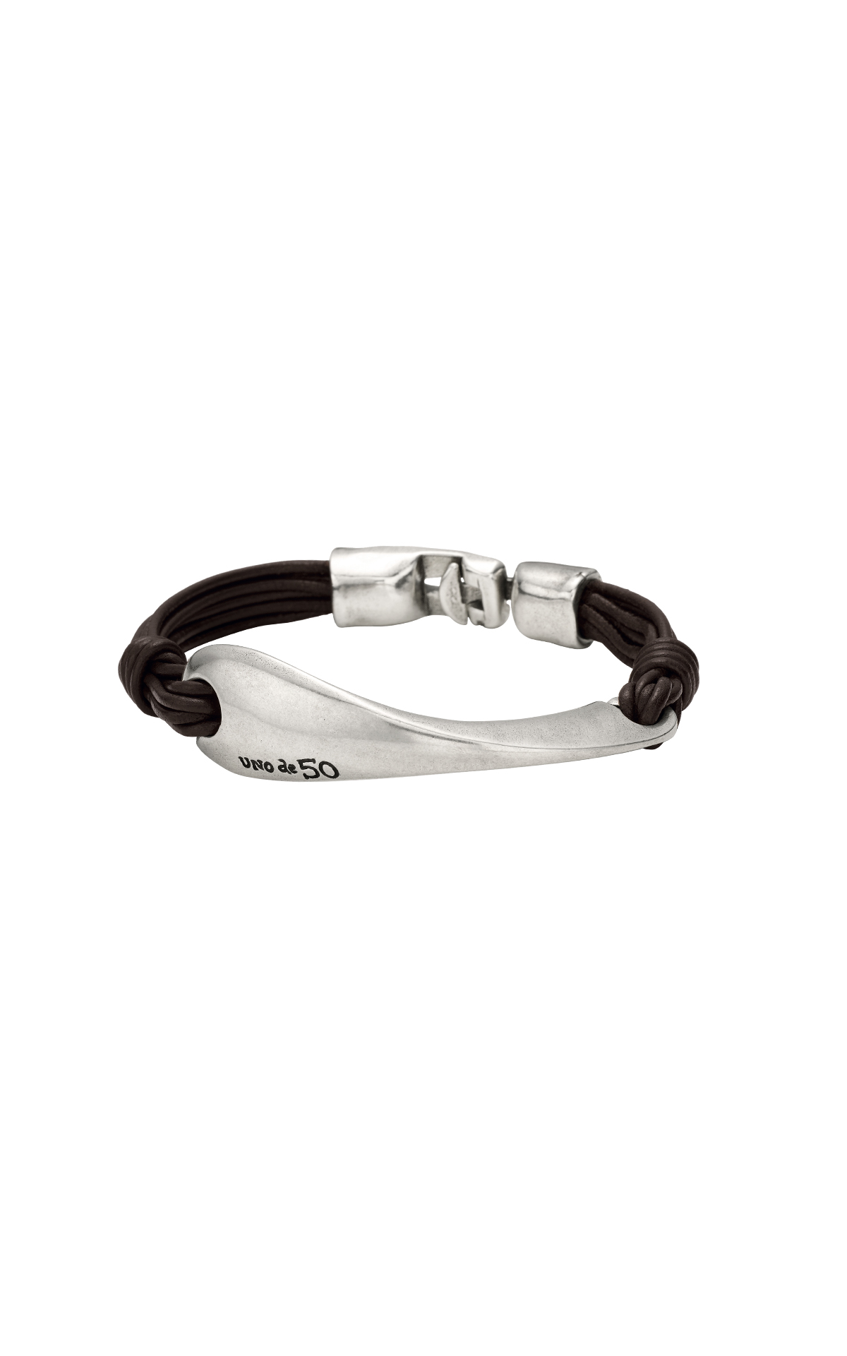 Leather and silver bracelet UNOde50
