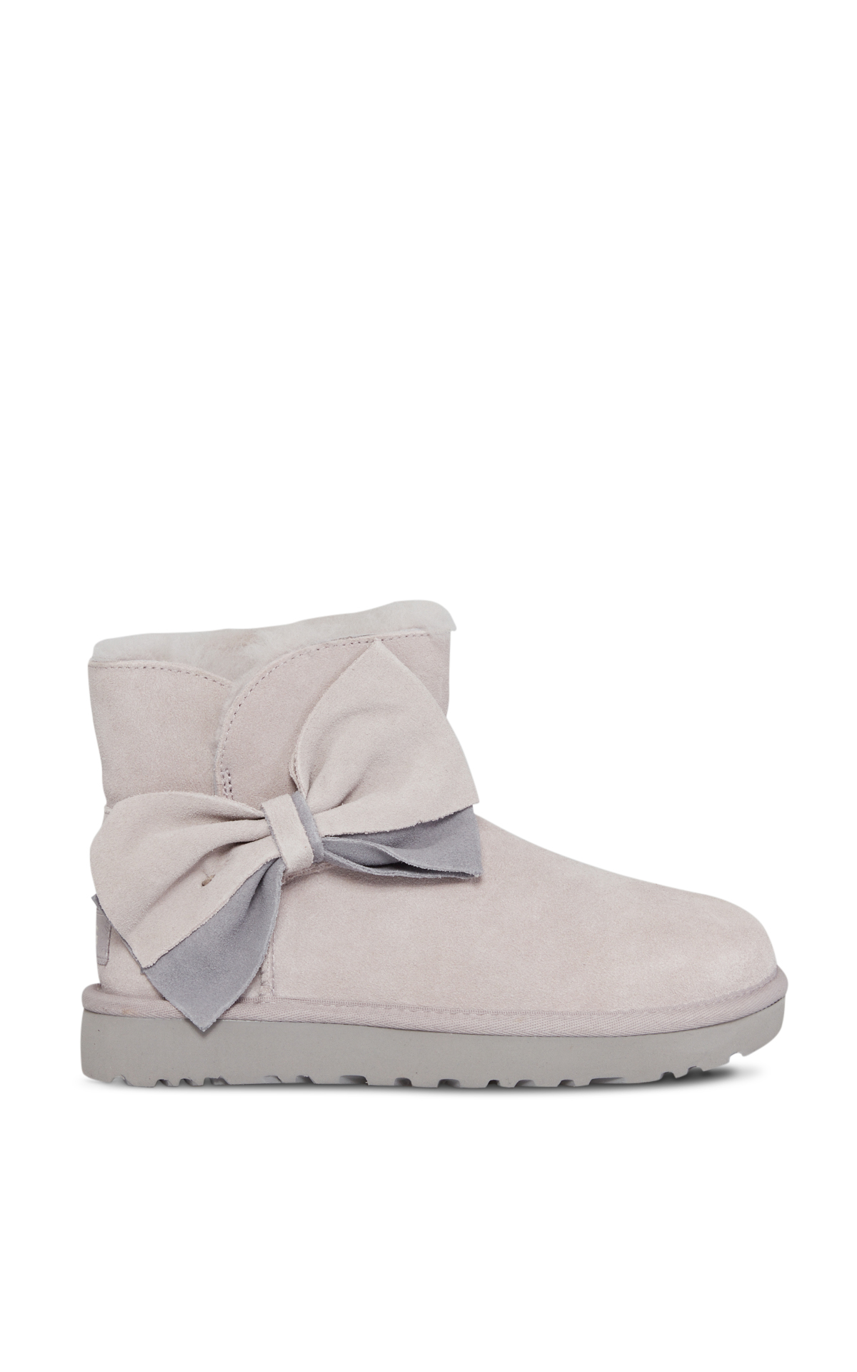 Grey classic mini boots with two-tone bow*