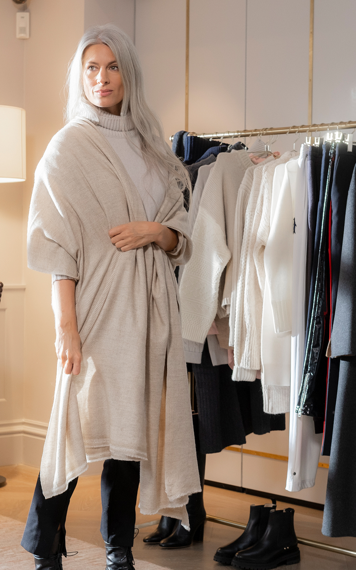 Sarah Harris cosy with cashmere at Bicester Village